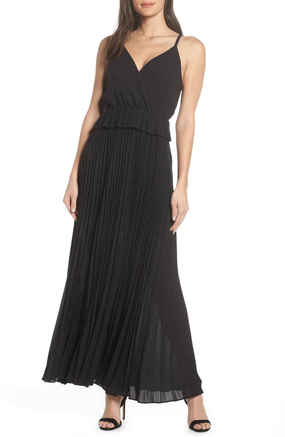 Black pleated spaghetti strap maxi dress from Nordstrom