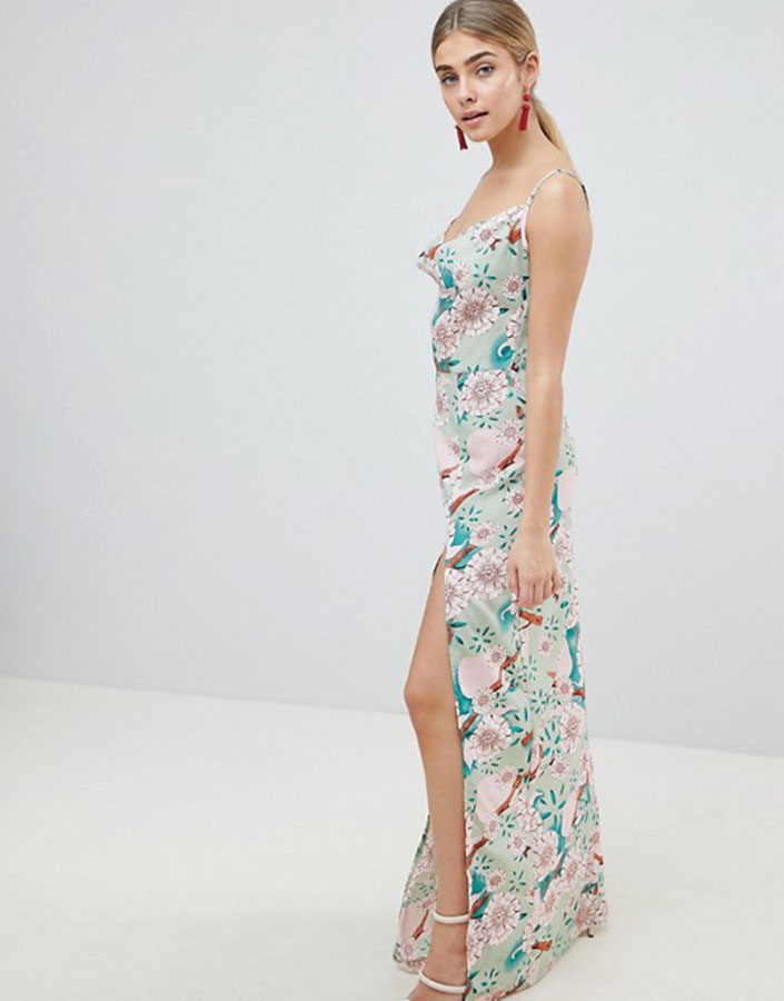 Mint green floral maxi dress with side split from ASOS