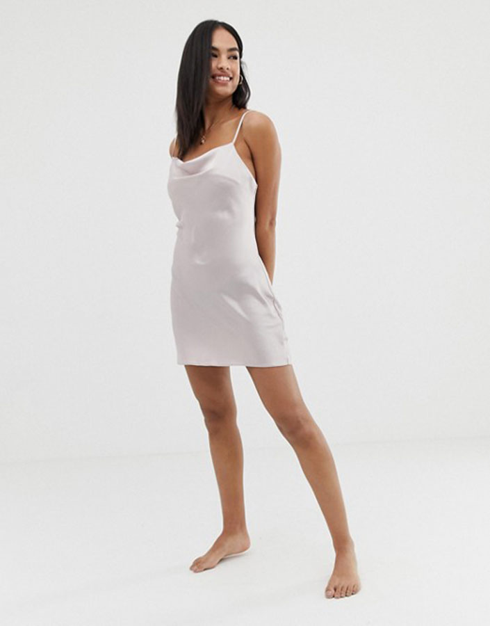 Silver satin slip dress short from ASOS