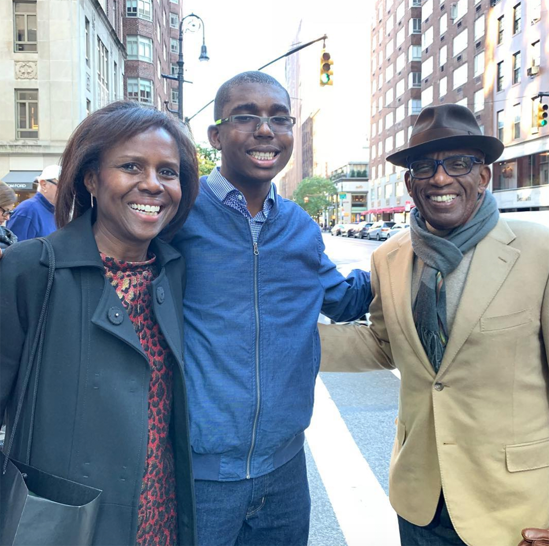 Al Roker with wife and son