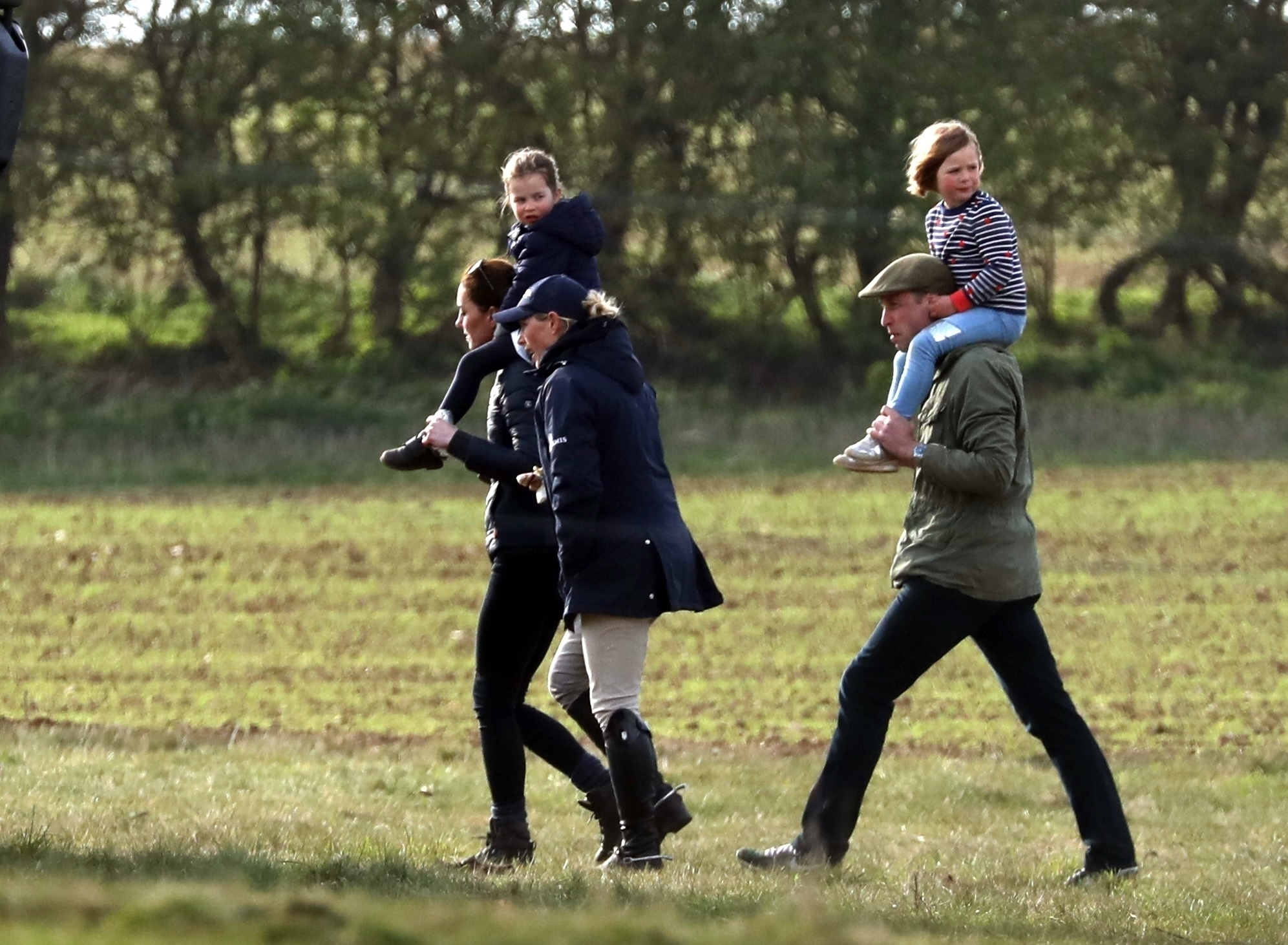 *PREMIUM-EXCLUSIVE* Prince George, Princess Charlotte, Mike Tindall and Mia Tindall are all seen enjoying a day out at the Burnham Horse Trials in Norfolk