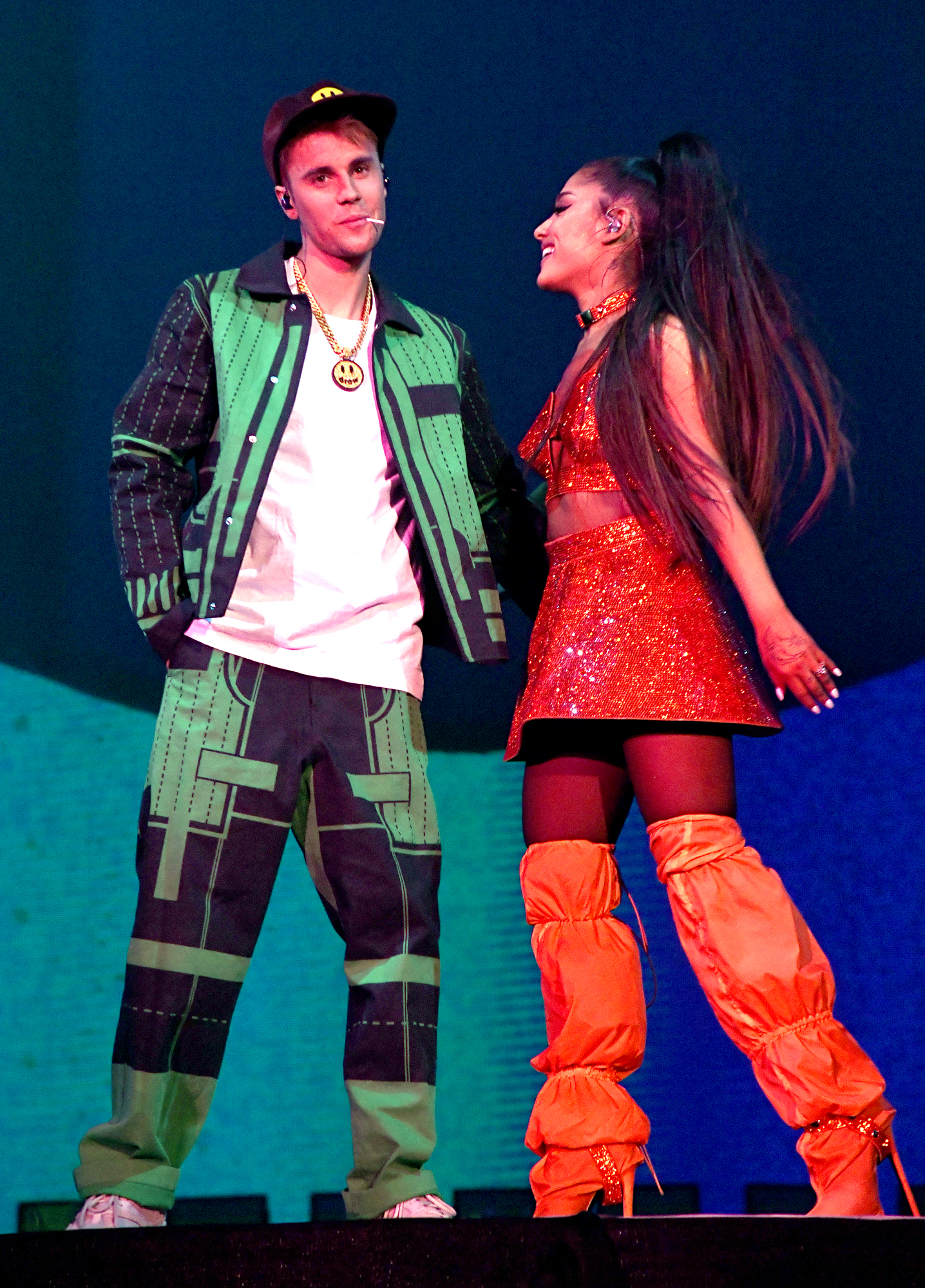 Justin Bieber performs with Ariana Grande at Coachella
