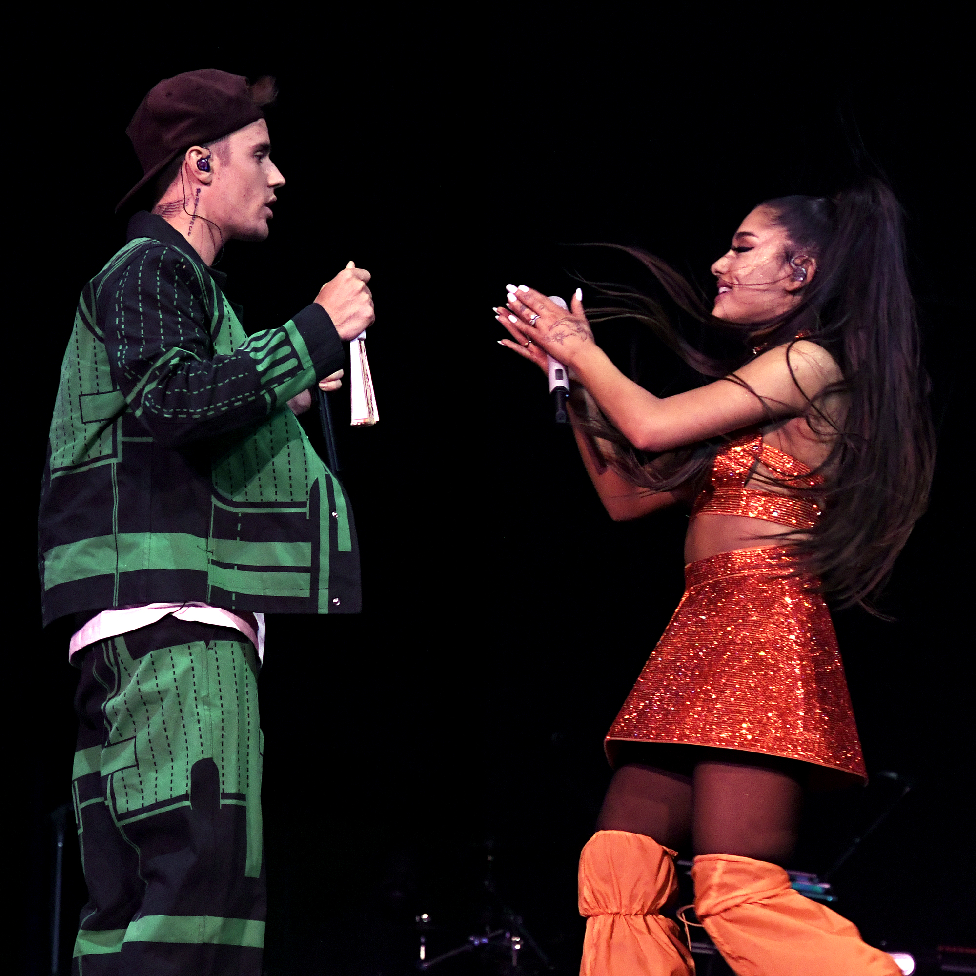 Bieber performs with Ariana Grande at Coachella
