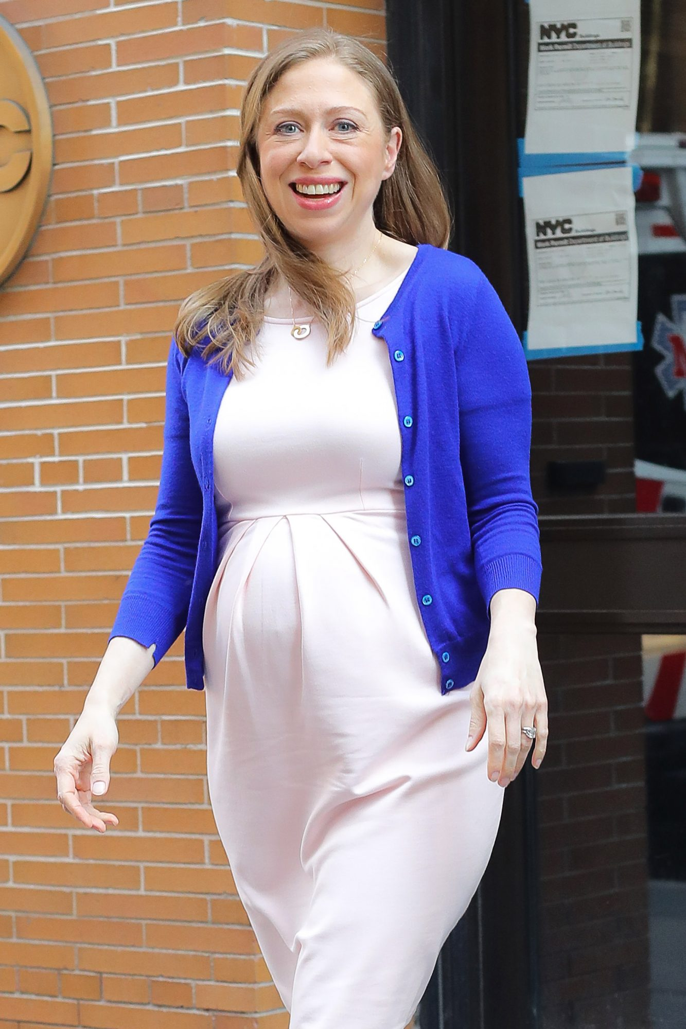 EXCLUSIVE: Pregnant Chelsea Clinton Shows Her Baby Bump While All Smiling Leaving The View  In New York City