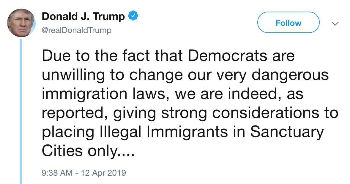 Donald Trump tweets about immigration laws