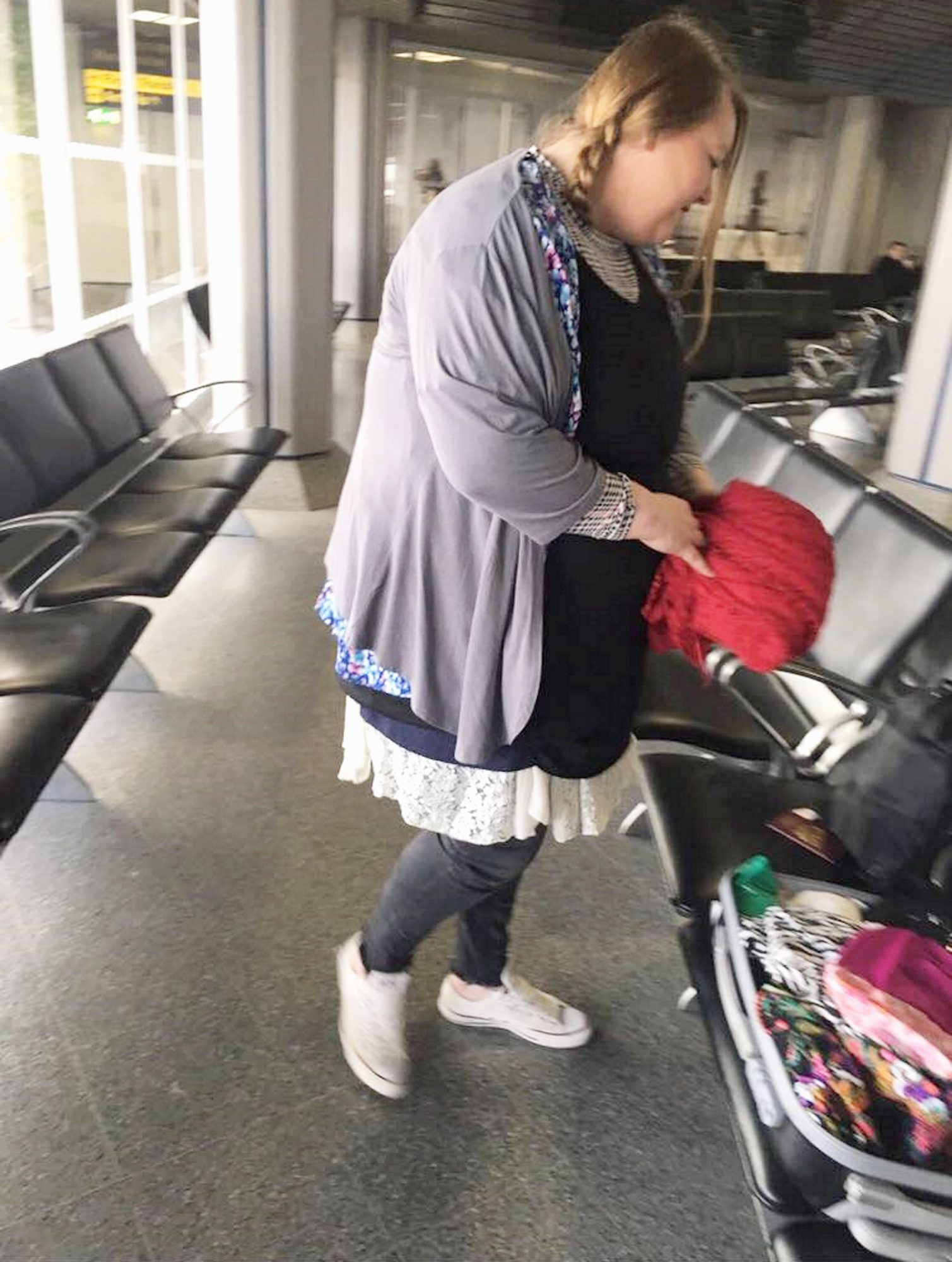 A mum dodged Thomas Cook's baggage charges by taking a leaf out of Joey from Friends' book to board the plane - wearing more than THREE KILOS of her own clothes.
