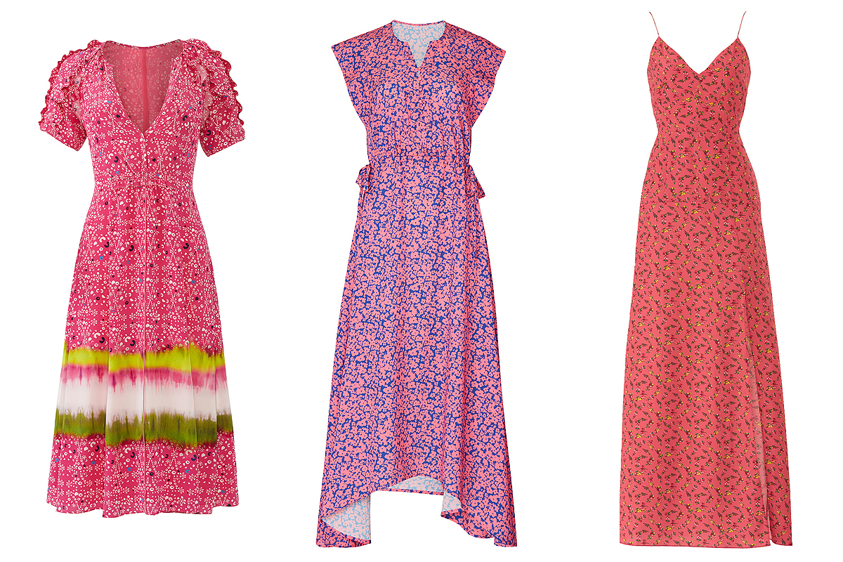 Pink floral dresses on Rent the Runway