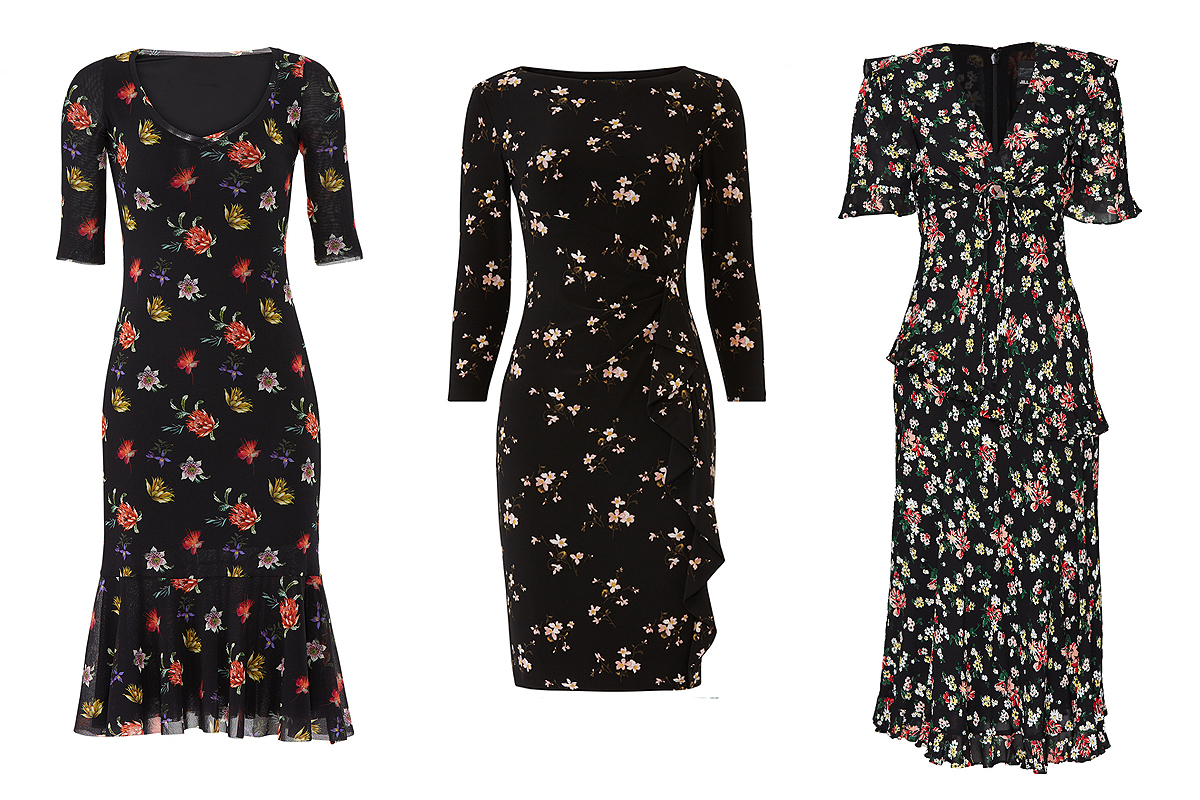 Black floral dresses on Rent the Runway