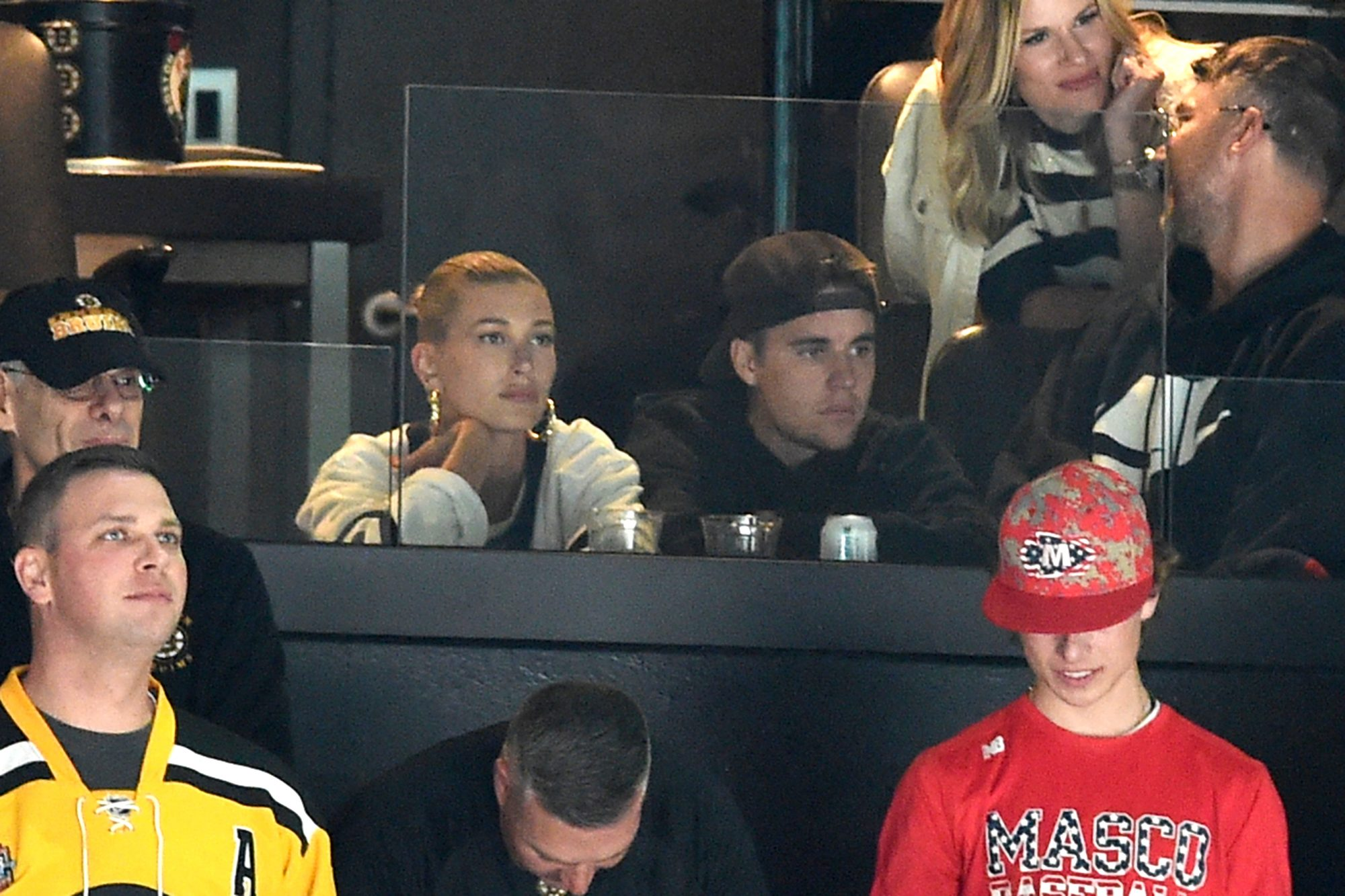 Hailey and Justin Bieber watch the game of the Boston Bruins against the Toronto Maple Leafs
