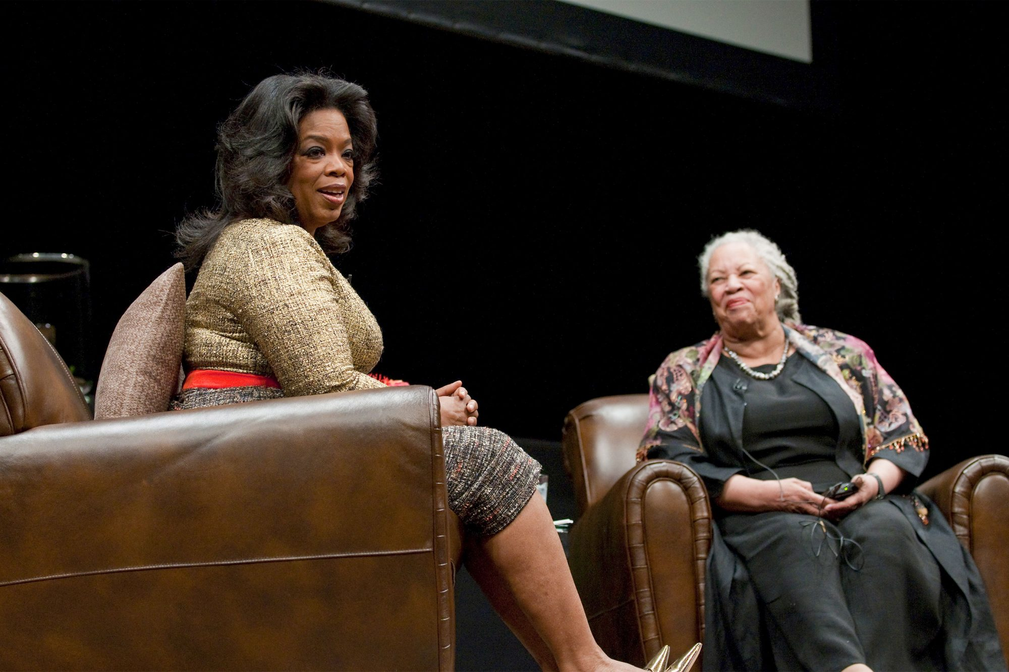Oprah Winfrey and Toni Morrison attend the Carl Sandburg literary awards dinner at the University of Illinois at Chicago Forum on October 20, 2010 in Chicago, Illinois. (Photo by Daniel Boczarski/FilmMagic)