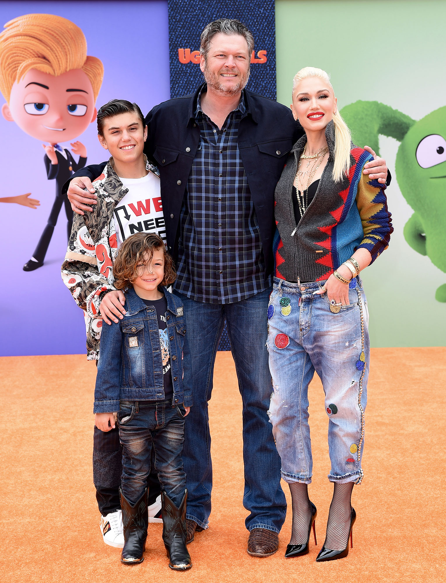 "Kingston Rossdale, Apollo Bowie Flynn Rossdale, Blake Shelton, and Gwen Stefani attend STX Films World Premiere of ""UglyDolls"