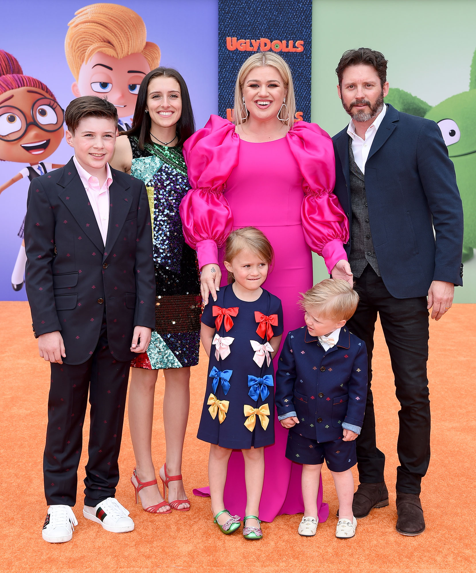 "Kelly Clarkson, Brandon Blackstock, Savannah Blackstock, River Rose Blackstock, Remington Alexander Blackstock, and Seth Blackstock attend STX Films World Premiere of ""UglyDolls"