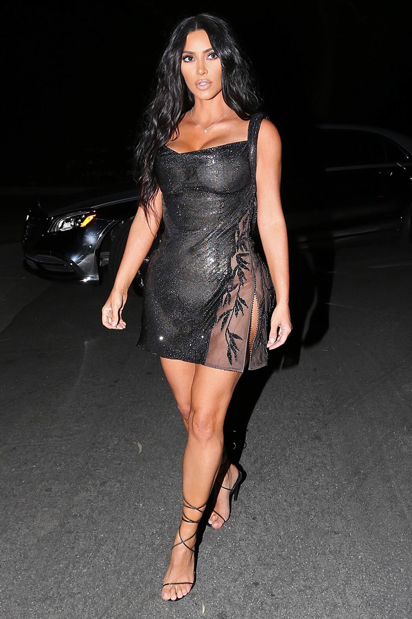 Kim Kardashian stops at a gas station before heading to sister Kourtney's 40th Birthday bash in L.A