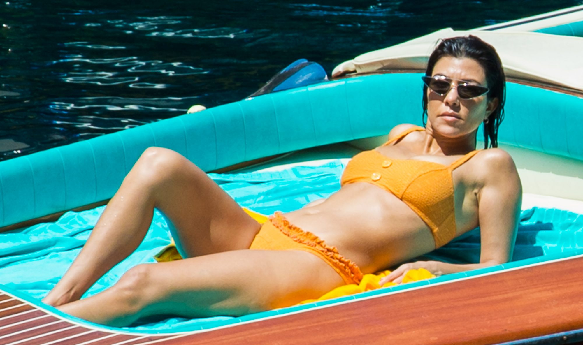 Kourtney Kardashian is Spotted on a Romantic Boat Ride with Younes Bendjima in Capri, Italy.