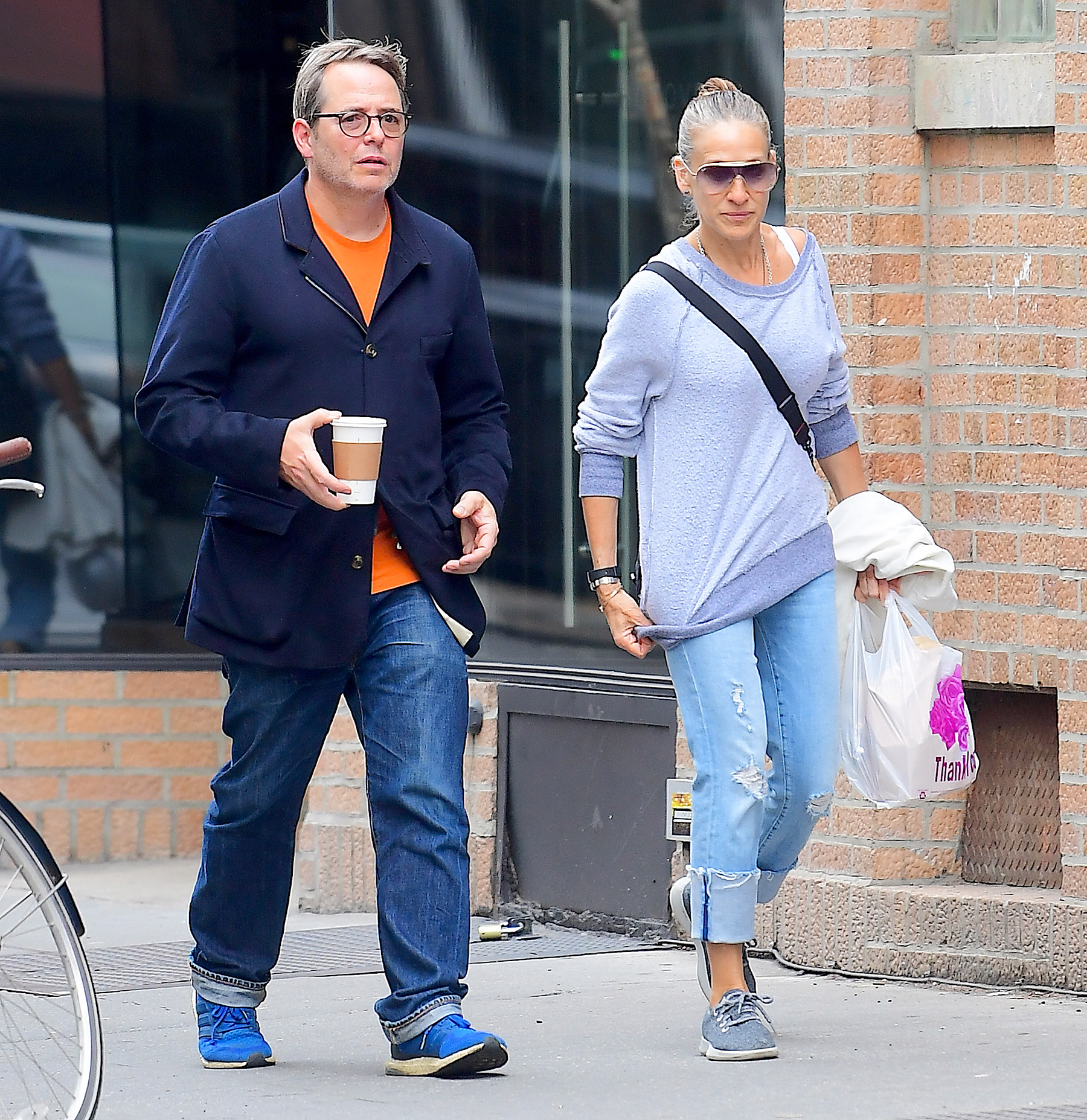 EXCLUSIVE: Sarah Jessica Parker And Matthew Broderick Enjoy Some Rare Alone Time While Getting Morning Coffee And Some Groceries