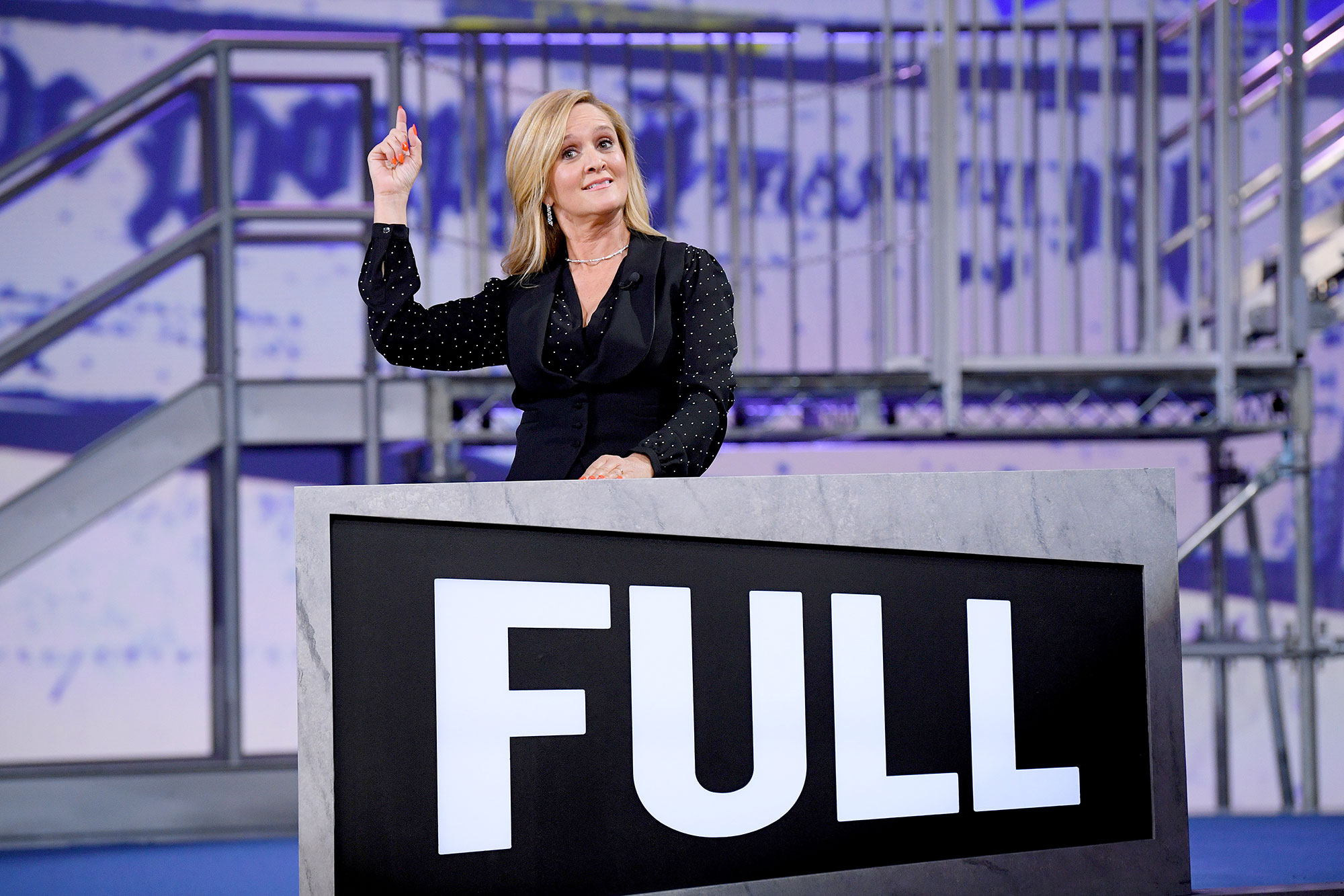 "Samantha Bee speaks onstage during ""Full Frontal With Samantha Bee"" Not The White House Correspondents"
