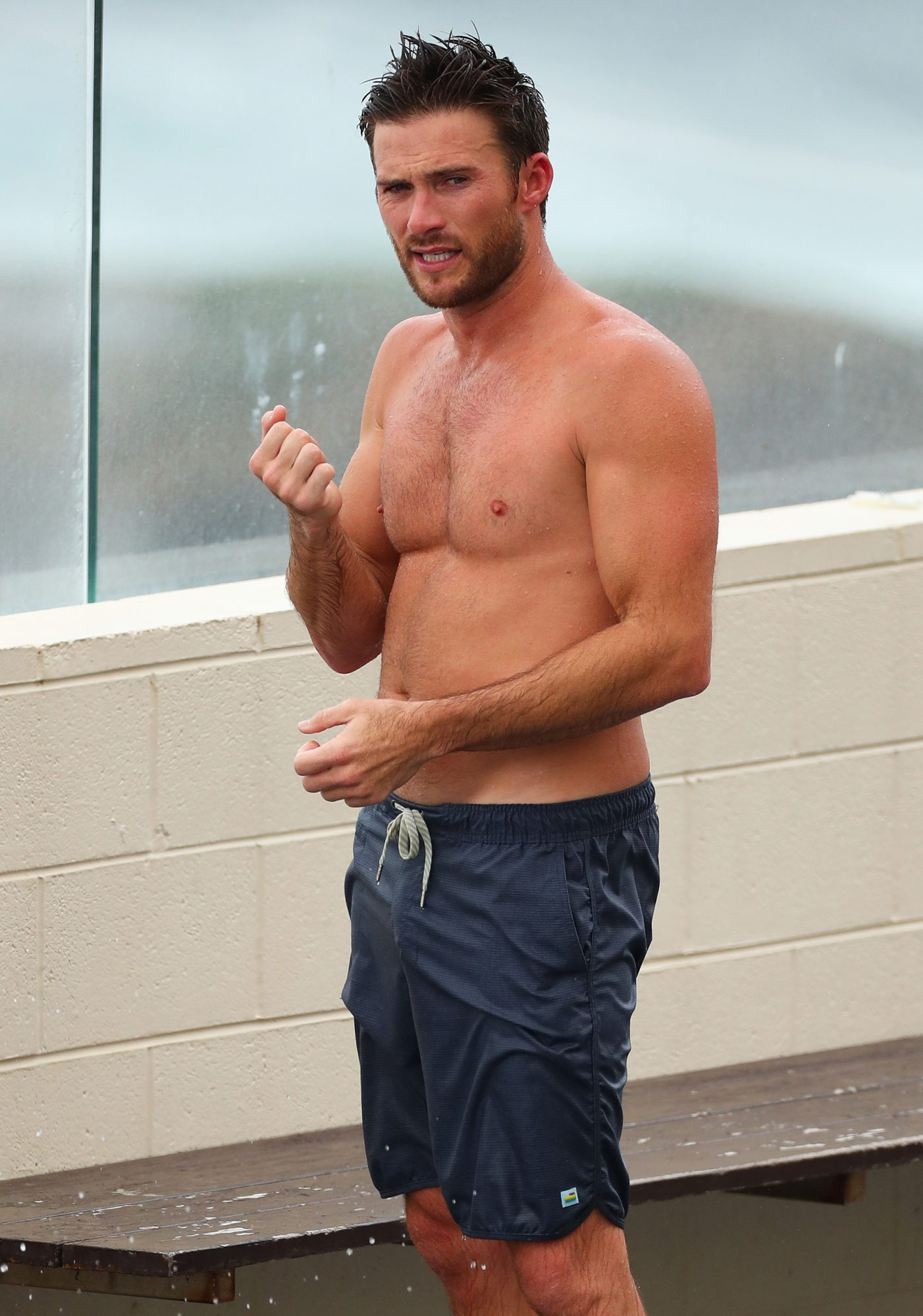 EXCLUSIVE: Scott Eastwood Pictured Shirtless at the Iconic Icebergs in Bondi, Sydney.