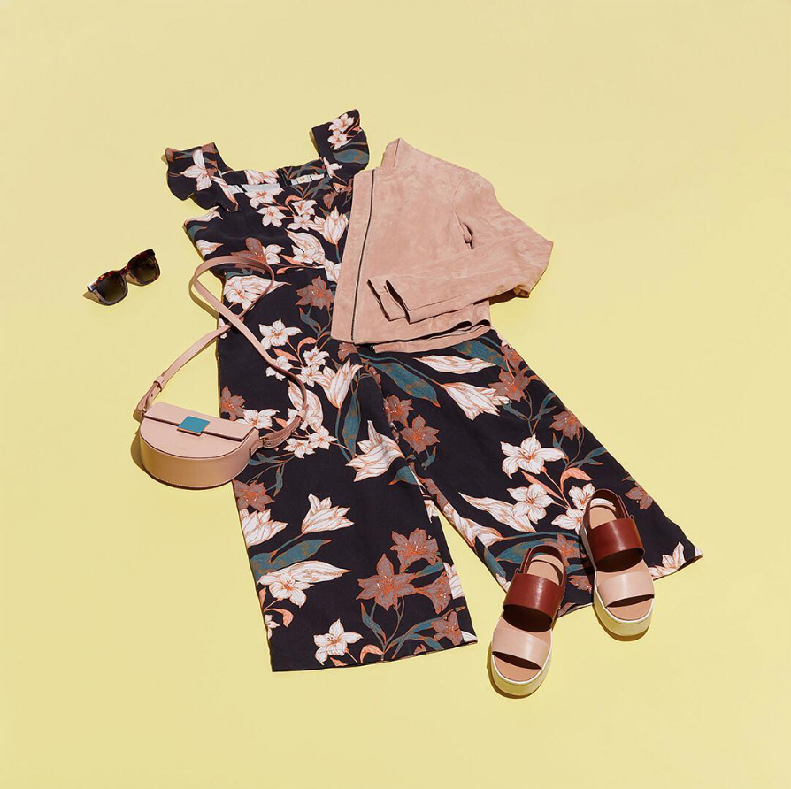 Floral jumpsuit, sunglasses, sandals, mini blush purse and jacket from Trunk Club