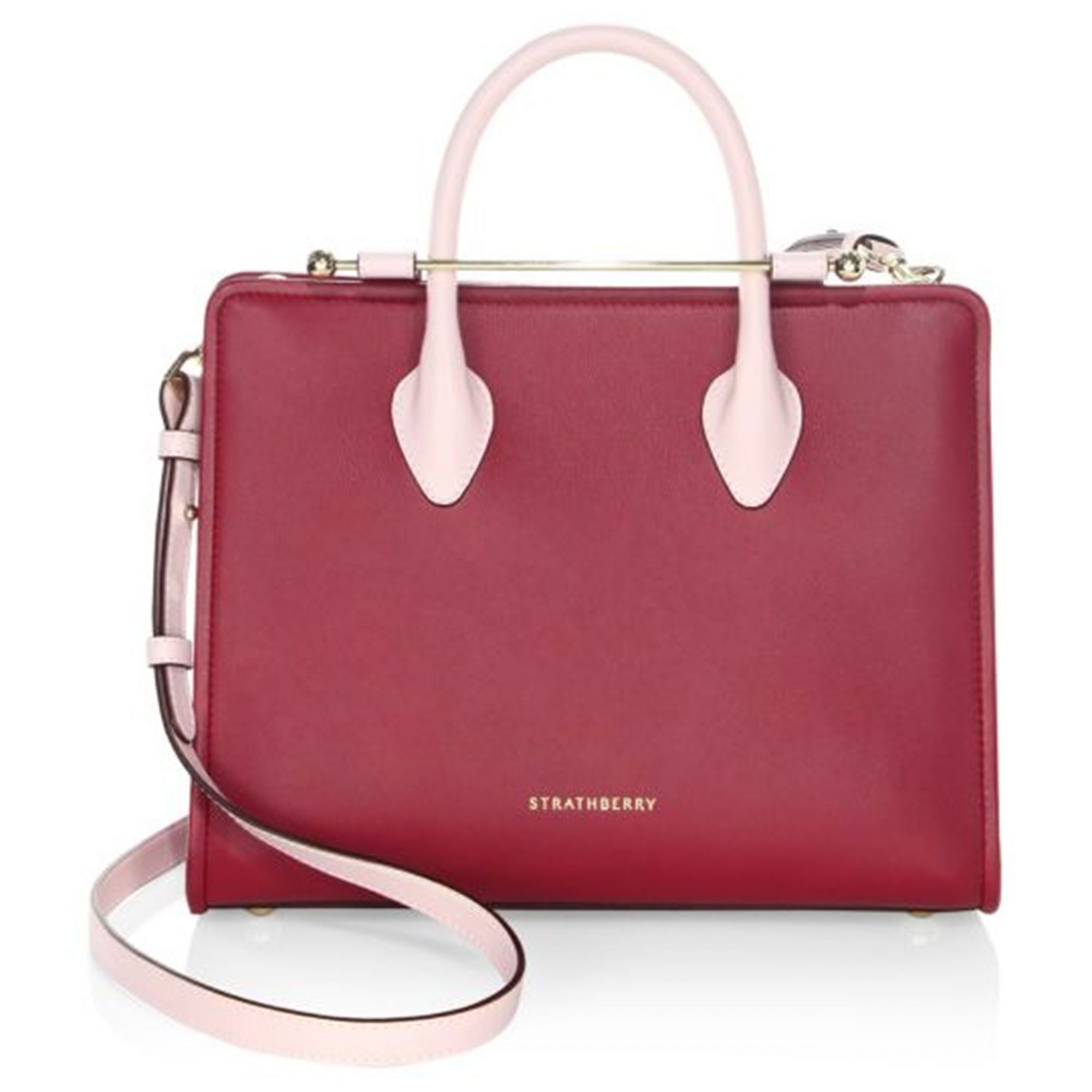 Red leather box tote from Strathberry at Saks Fifth Avenue