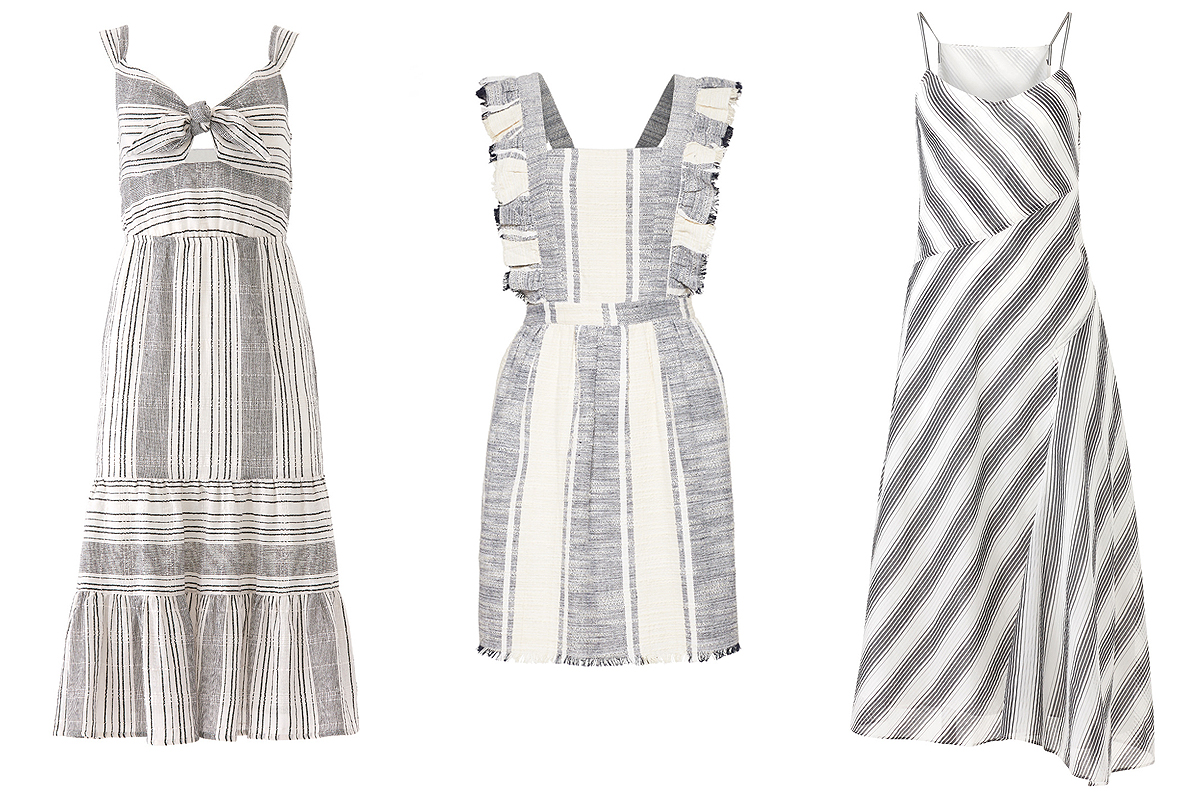 Cotton grey and white striped dresses on Rent the Runway