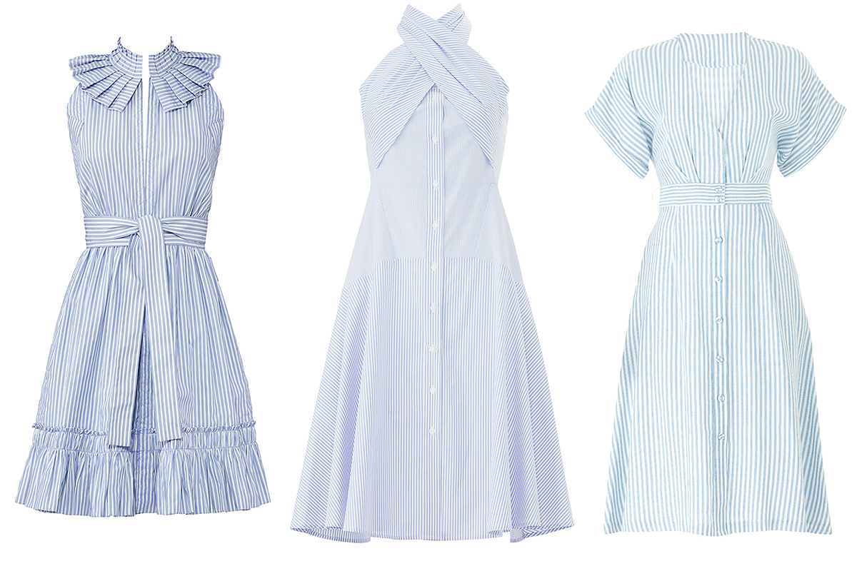 Blue and white striped dresses on Rent the Runway