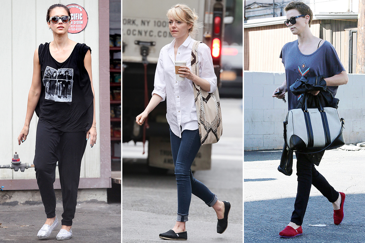 Jessica Alba, Emma Stone, and Charlize Theron wearing Toms