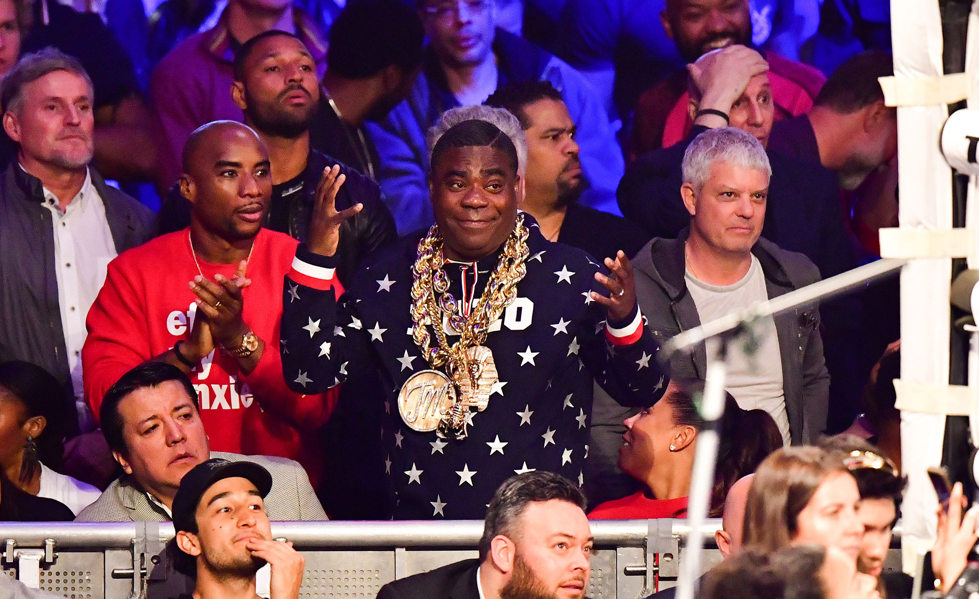 NEW YORK, NY - APRIL 20: Charlamagne tha God and Tracy Morgan attend WBO welterweight title fight between Terence Crawford and Amir Khan at Madison Square Garden on April 20, 2019 in New York City.