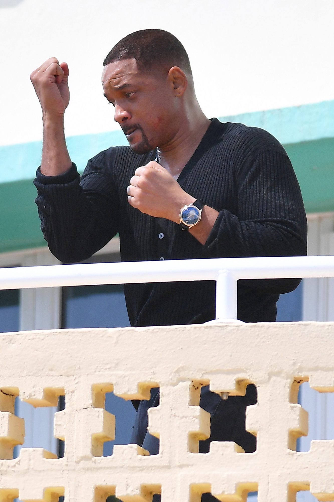 Will Smith Practices Shadow Boxing For A Fighting Scene On Set Of Bad Boys 3 In Miami Beach, Florida