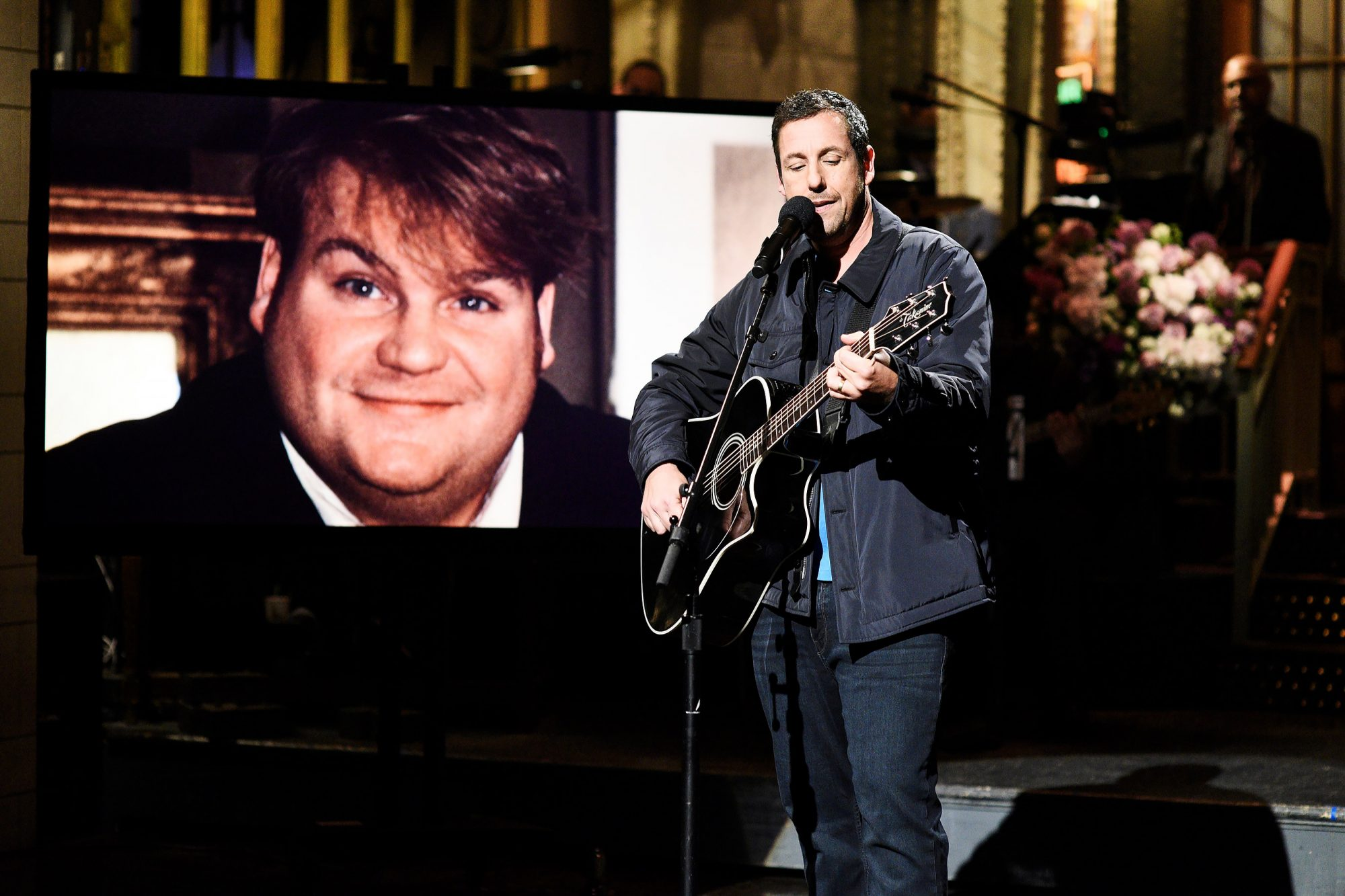 """Adam Sandler during the """"Farley Song"""" sketch on Saturday, May 4, 2019"""