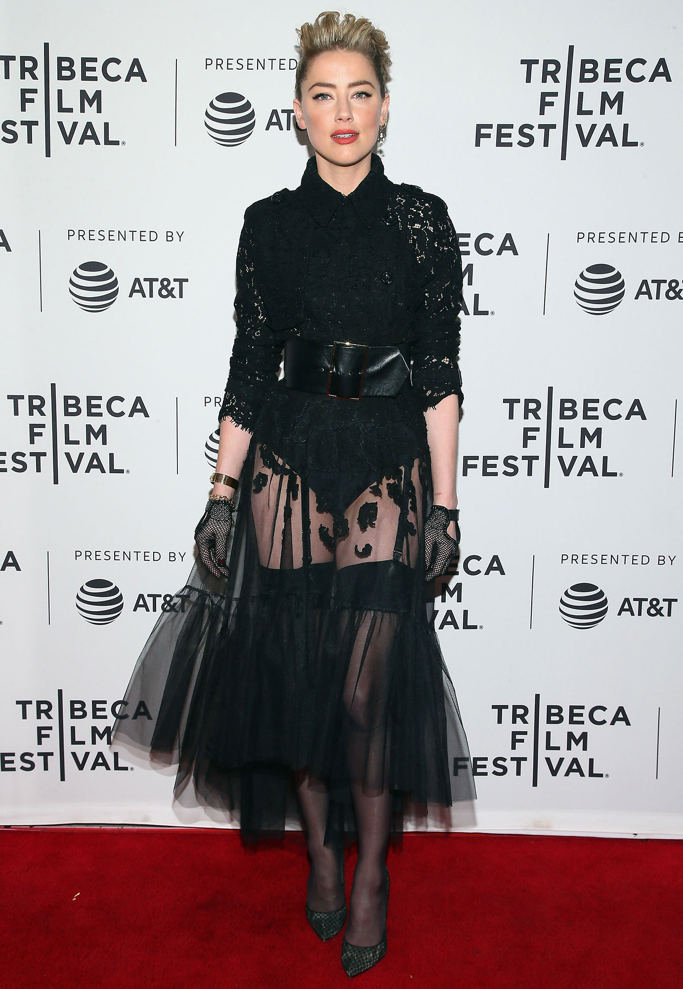 "Actress Amber Heard attends ""Gully"" screening at 2019 Tribeca Film Festival at SVA Theater on April 27, 2019"
