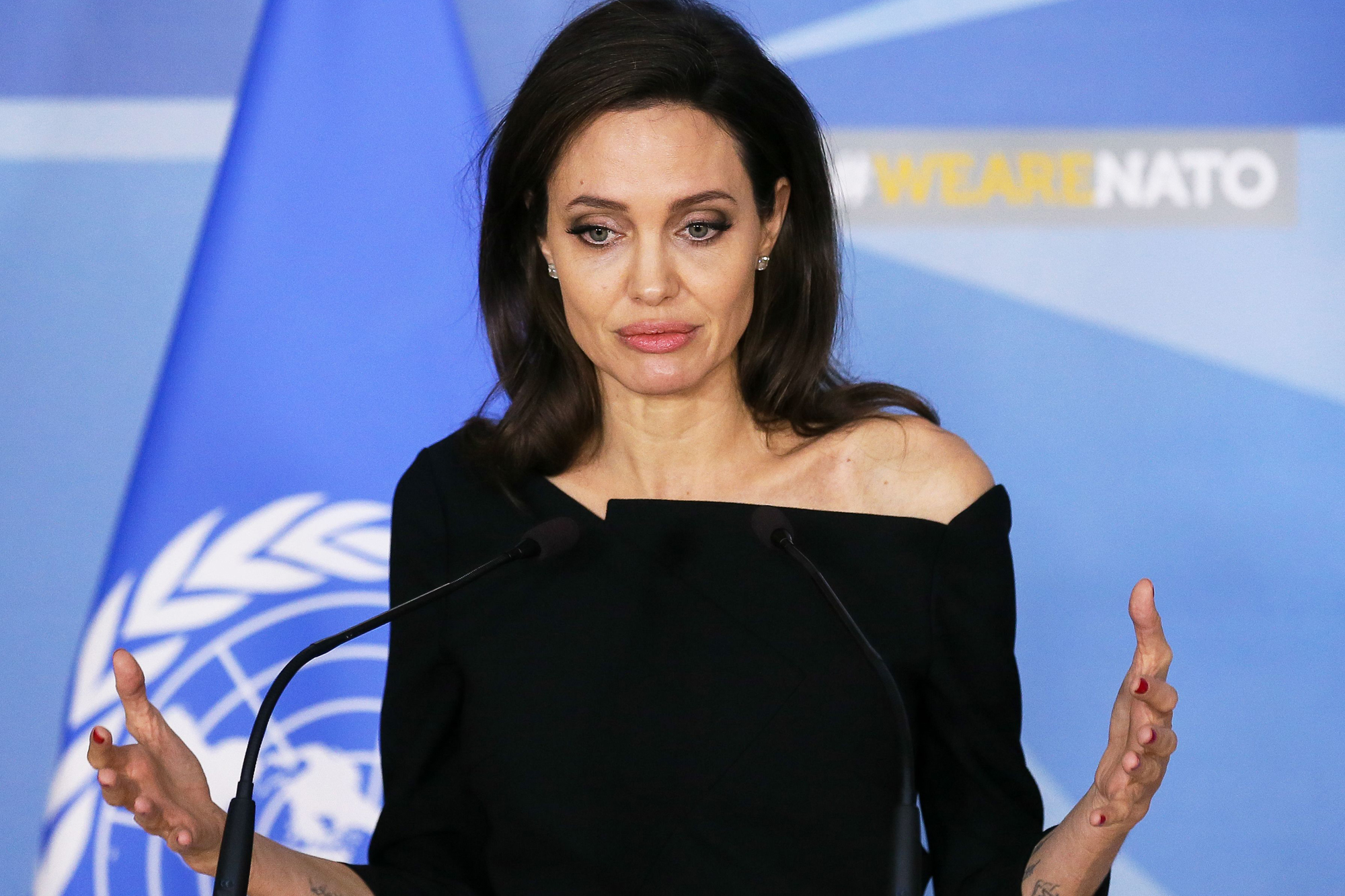 UNHCR envoy and actress Angelina Jolie at the NATO in Brussels, Belgium - 31 Jan 2018