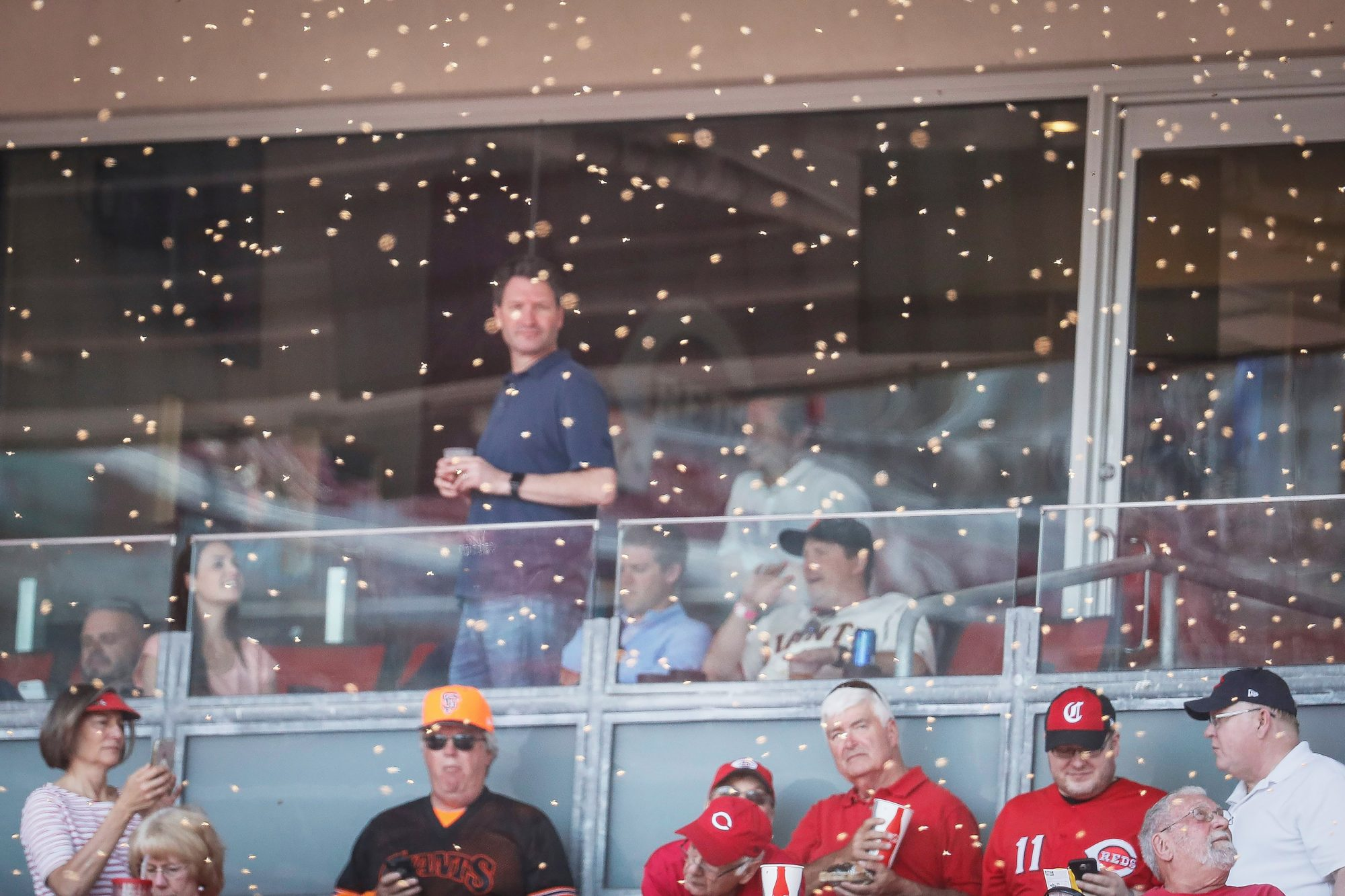 A swarm of bees delays the start of a baseball game between the Cincinnati Reds and the San Francisco Giants, in Cincinnati Giants Reds Baseball, Cincinnati, USA - 06 May 2019