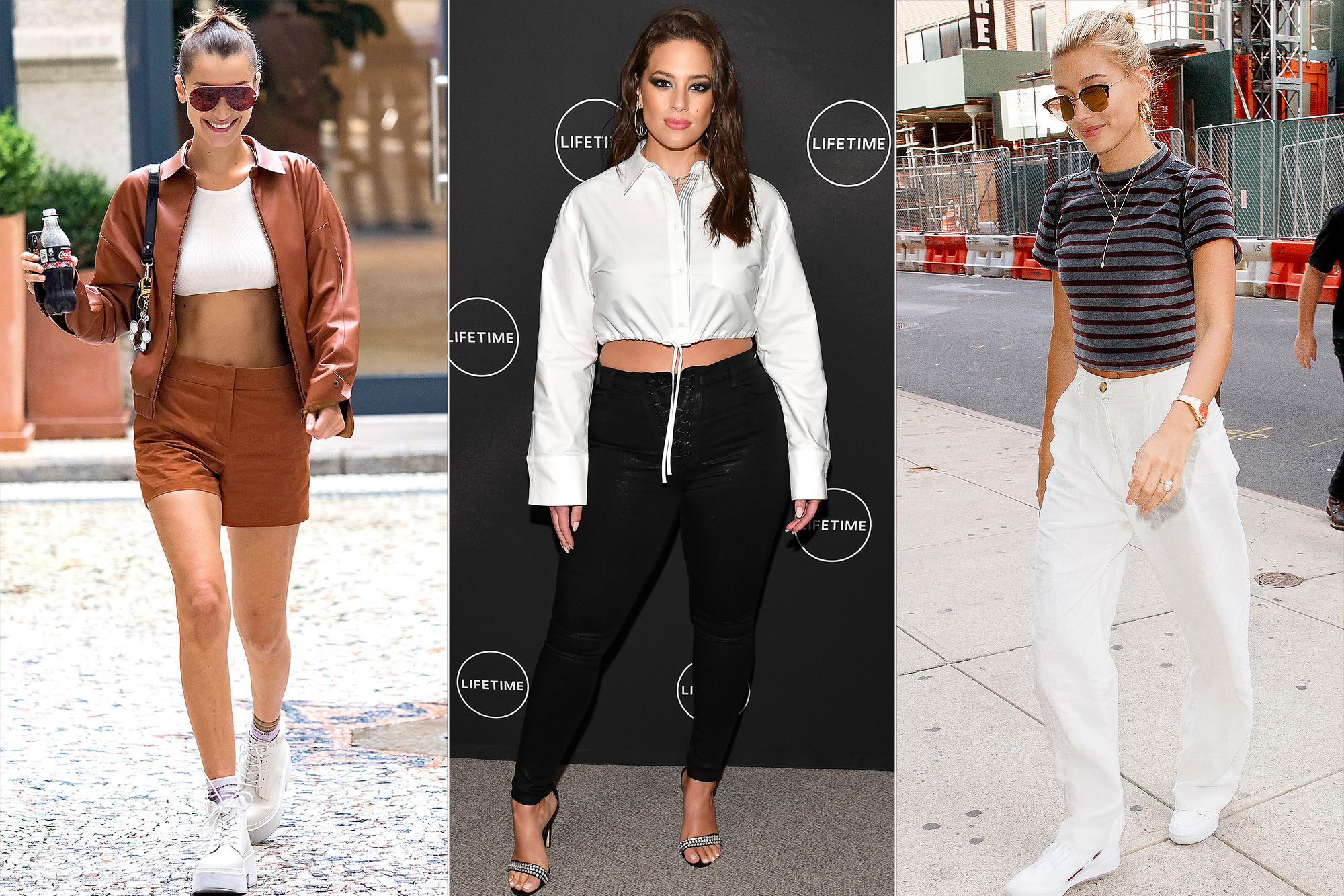 Bella Hadid, Ashley Graham, and Hailey Bieber Wearing Stylish Crop Tops