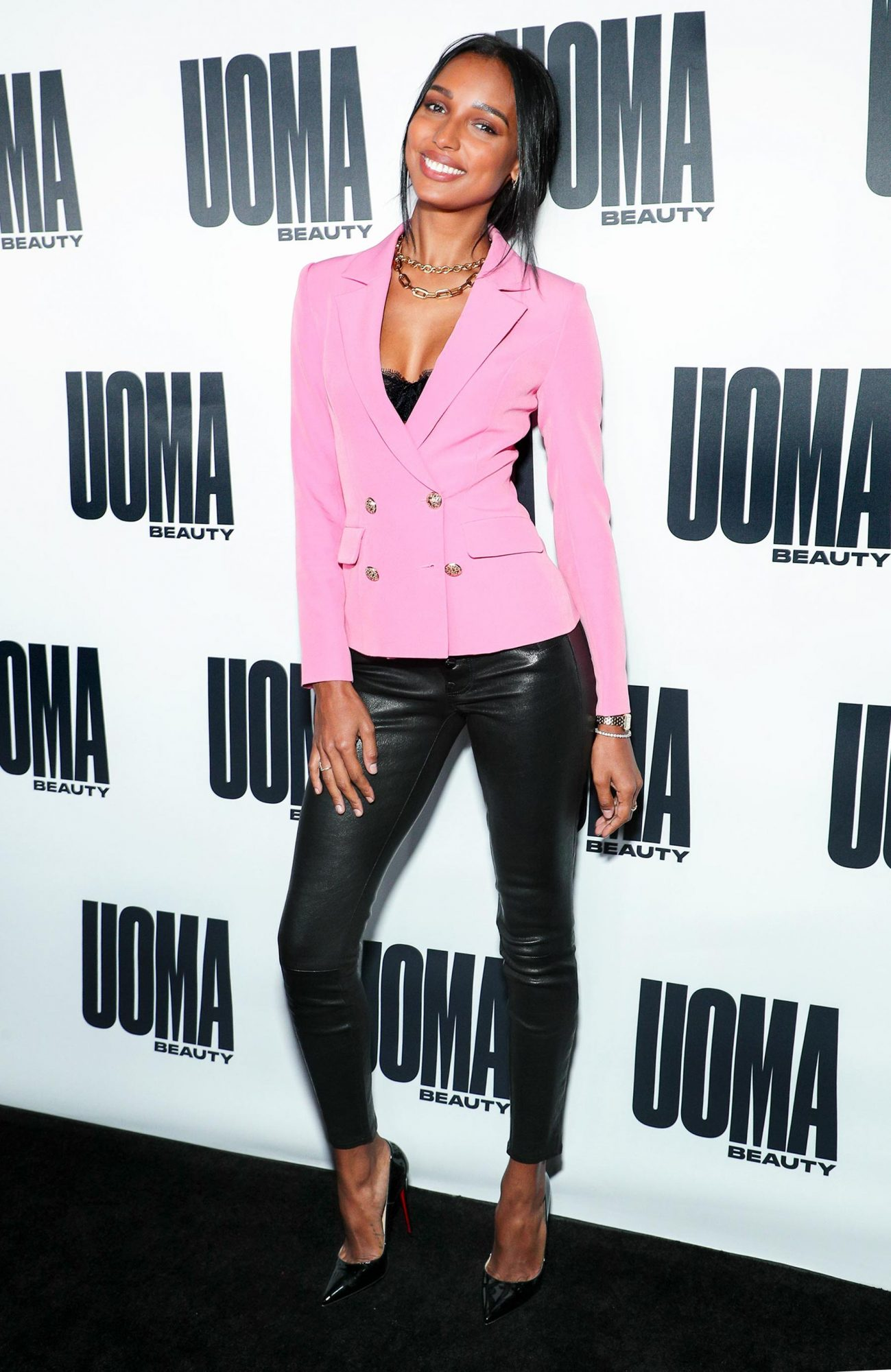 Jasmine Tookes attends launch of Uoma Beauty held at NeueHouse on Thursday (April 25) in Los Angeles. Photo Credit: John Salangsang/BFA.com