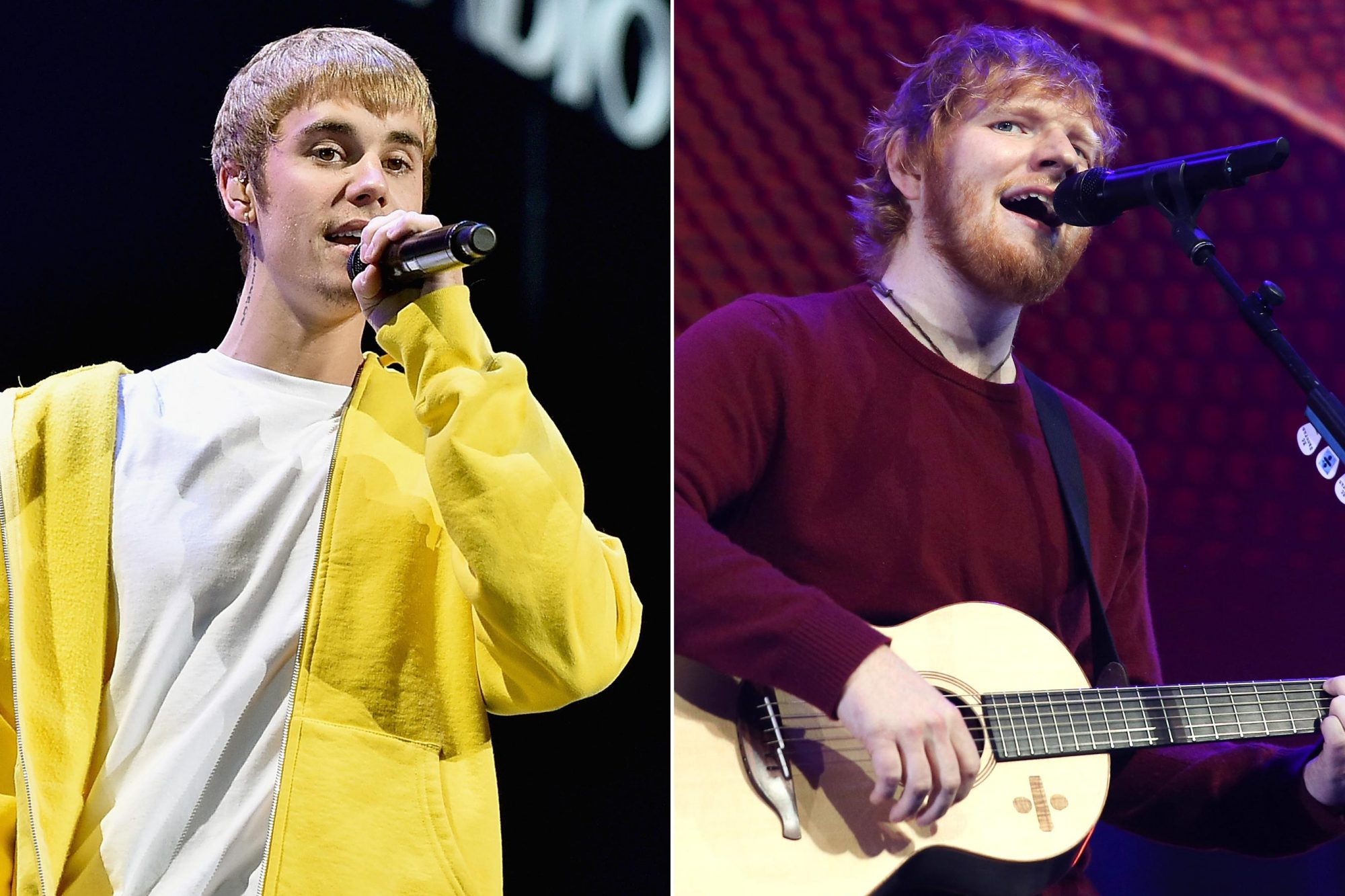 LOS ANGELES, CA - DECEMBER 02: Singer Justin Bieber performs onstage during 102.7 KIIS FM's Jingle Ball 2016 presented by Capital One at Staples Center on December 2, 2016 in Los Angeles, California. (Photo by Mike Windle/Getty Images for iHeartMedia) Ed Sheeran performs live on stage during 'Music 4 Mental Health' at The Roundhouse on November 18, 2018 in London, England. (Photo by Simone Joyner/Getty Images)