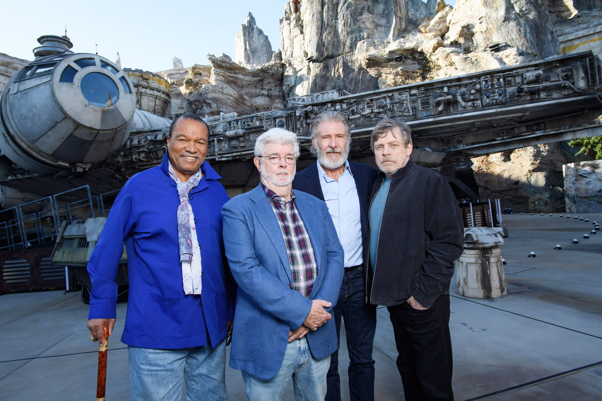 Billy Dee Williams, George Lucas, Harrison Ford and Mark Hamill