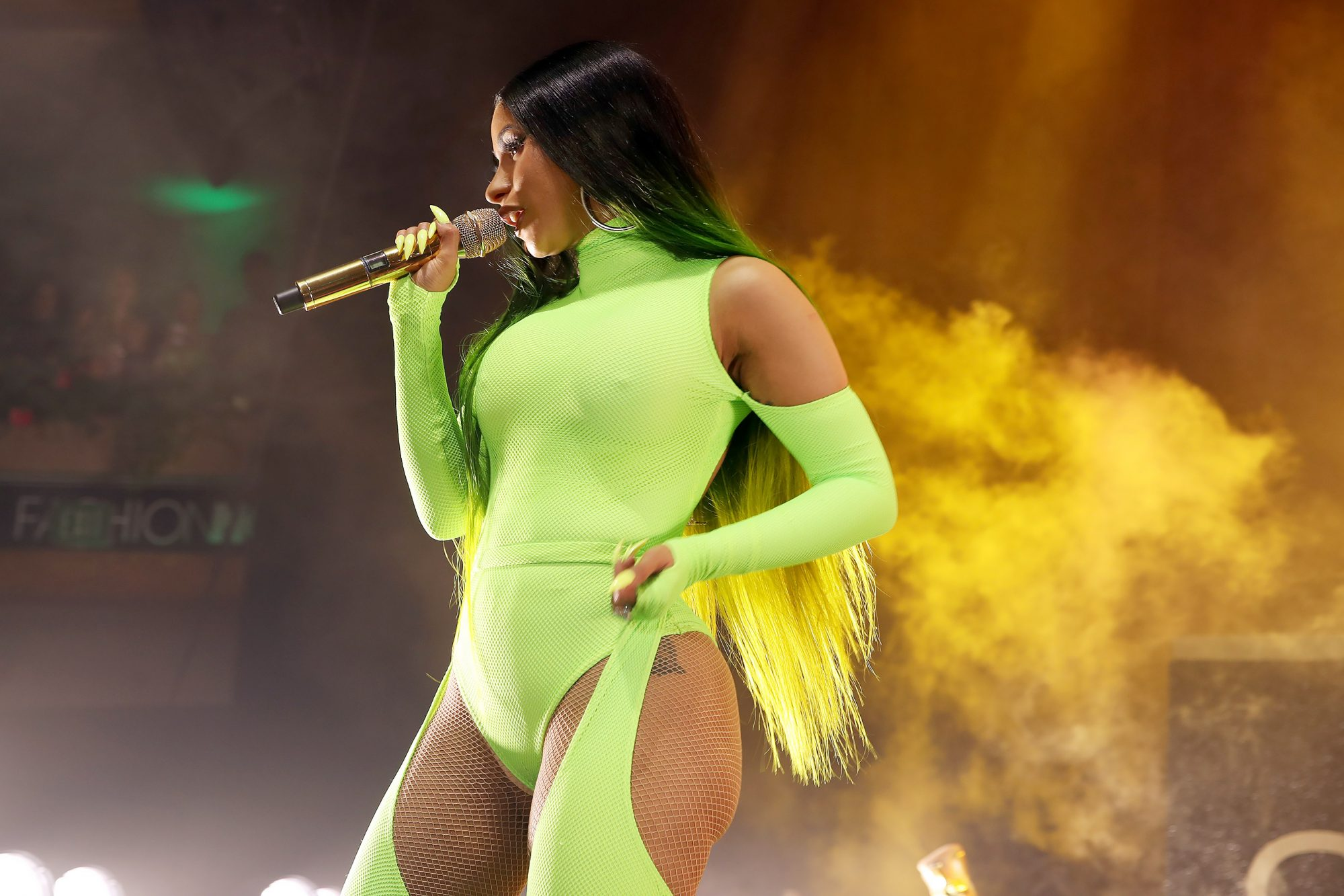Cardi B performs onstage as Fashion Nova Presents: Party With Cardi at Hollywood Palladium on May 9, 2019