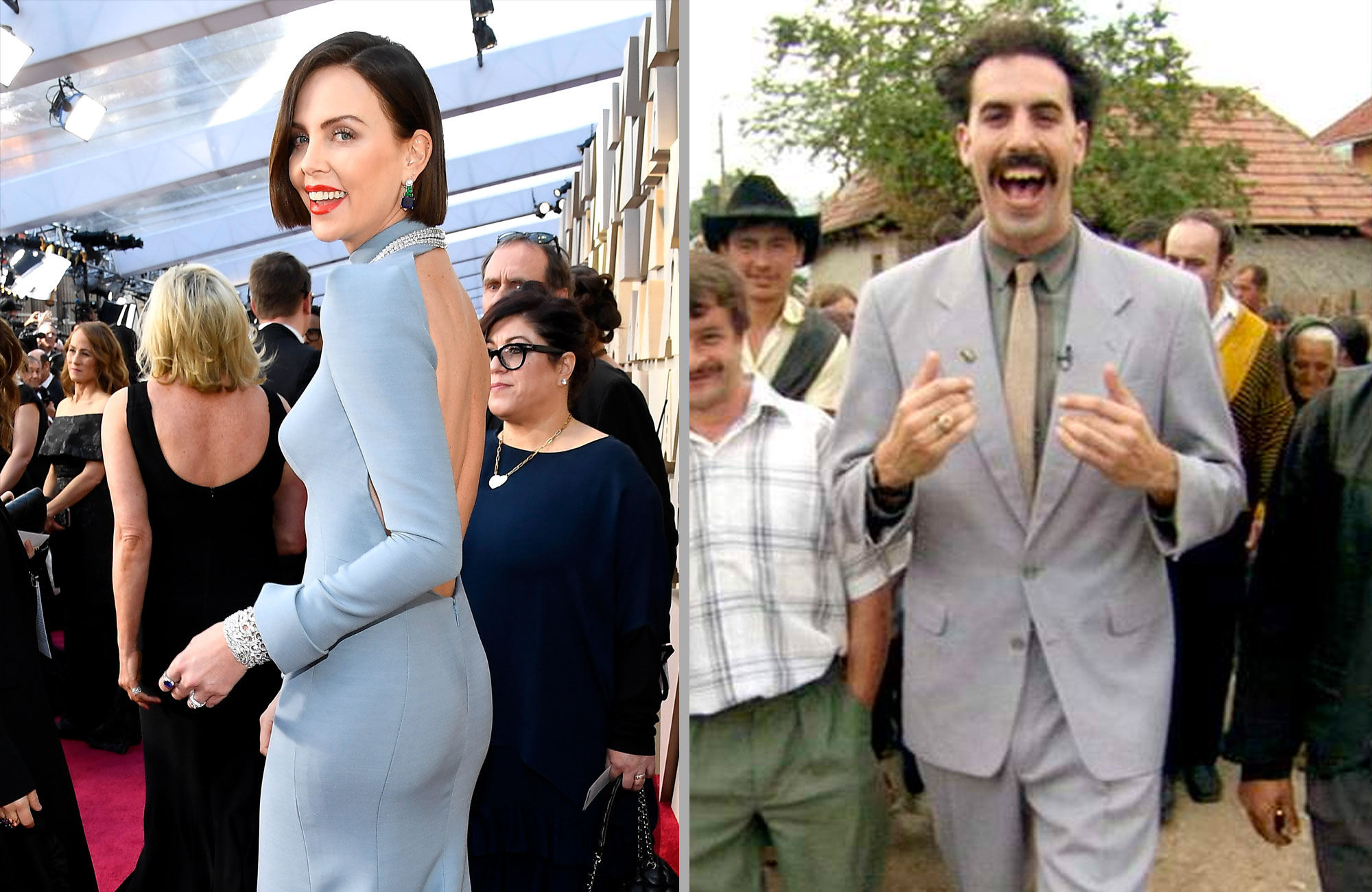 CHarlize Theron and Borat