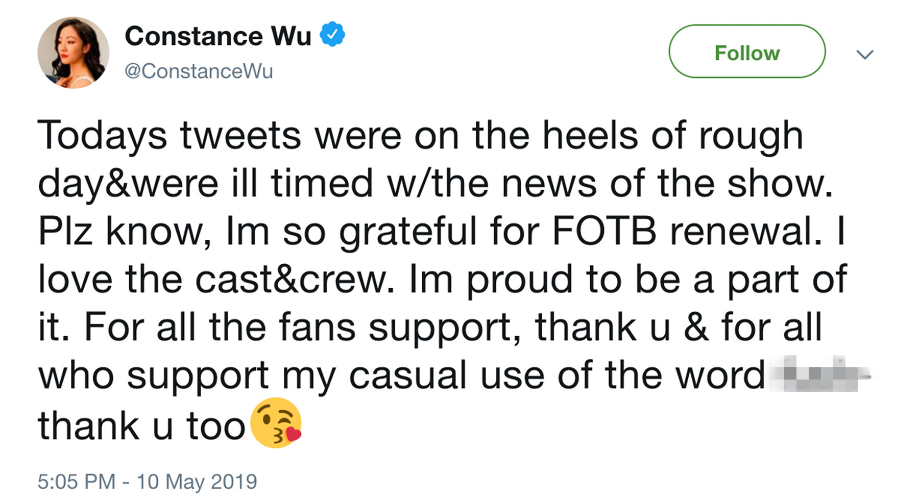Constance Wu Tweets about Fresh Off the Boat series renewa