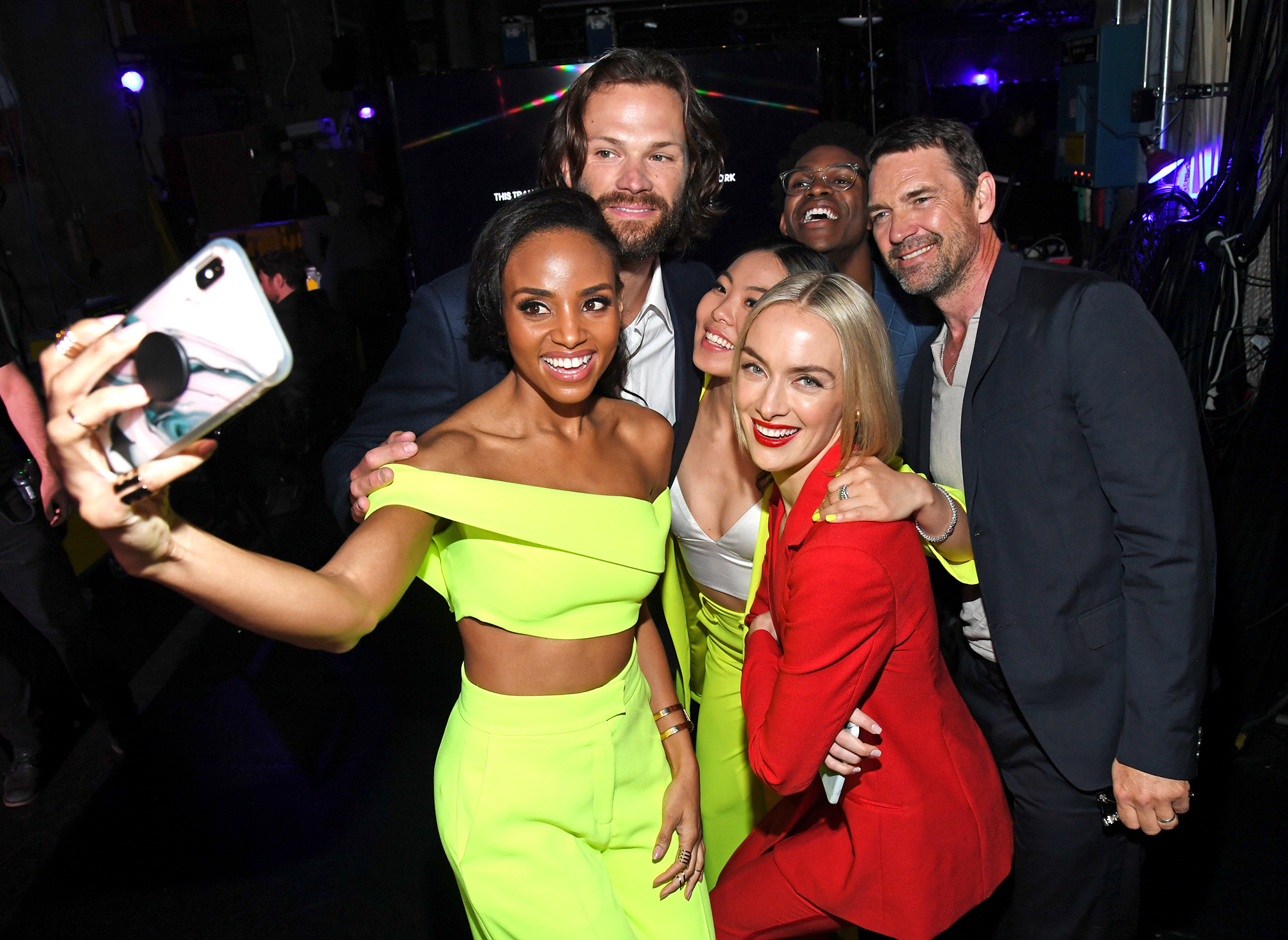 NEW YORK, NEW YORK - MAY 16: (L-R) Meagan Tandy, Jared Padalecki, Nicole Kang, Camrus Johnson, Elizabeth Anweis, and Rachel Skarsten, Dougray Scott pose backstage during the The CW Network 2019 Upfronts at New York City Center on May 16, 2019 in New York City. (Photo by Kevin Mazur/Getty Images for The CW Network)