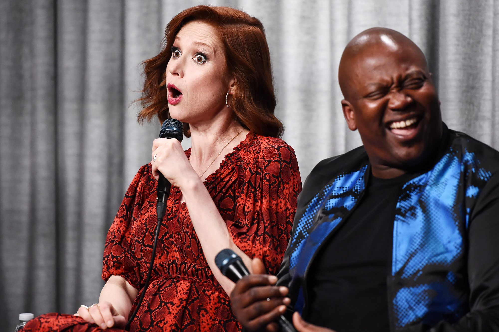 Ellie Kemper (L) and actor Tituss Burgess