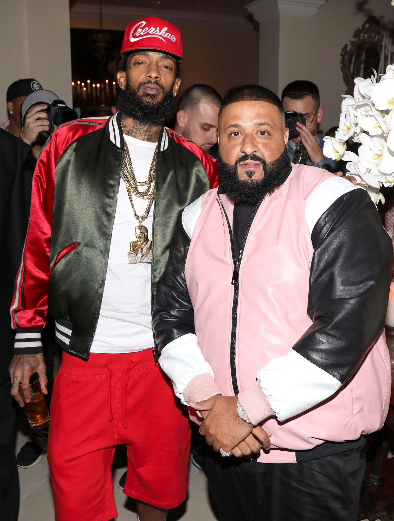 BEVERLY HILLS, CA - DECEMBER 02: Nipsey Hussle and DJ Khaled attend The Four cast Sean Diddy Combs, Fergie, and Meghan Trainor Host DJ Khaled's Birthday Presented by CÎROC and Fox on December 2, 2017 in Beverly Hills, California. (Photo by Jerritt Clark/Getty Images for Ciroc)