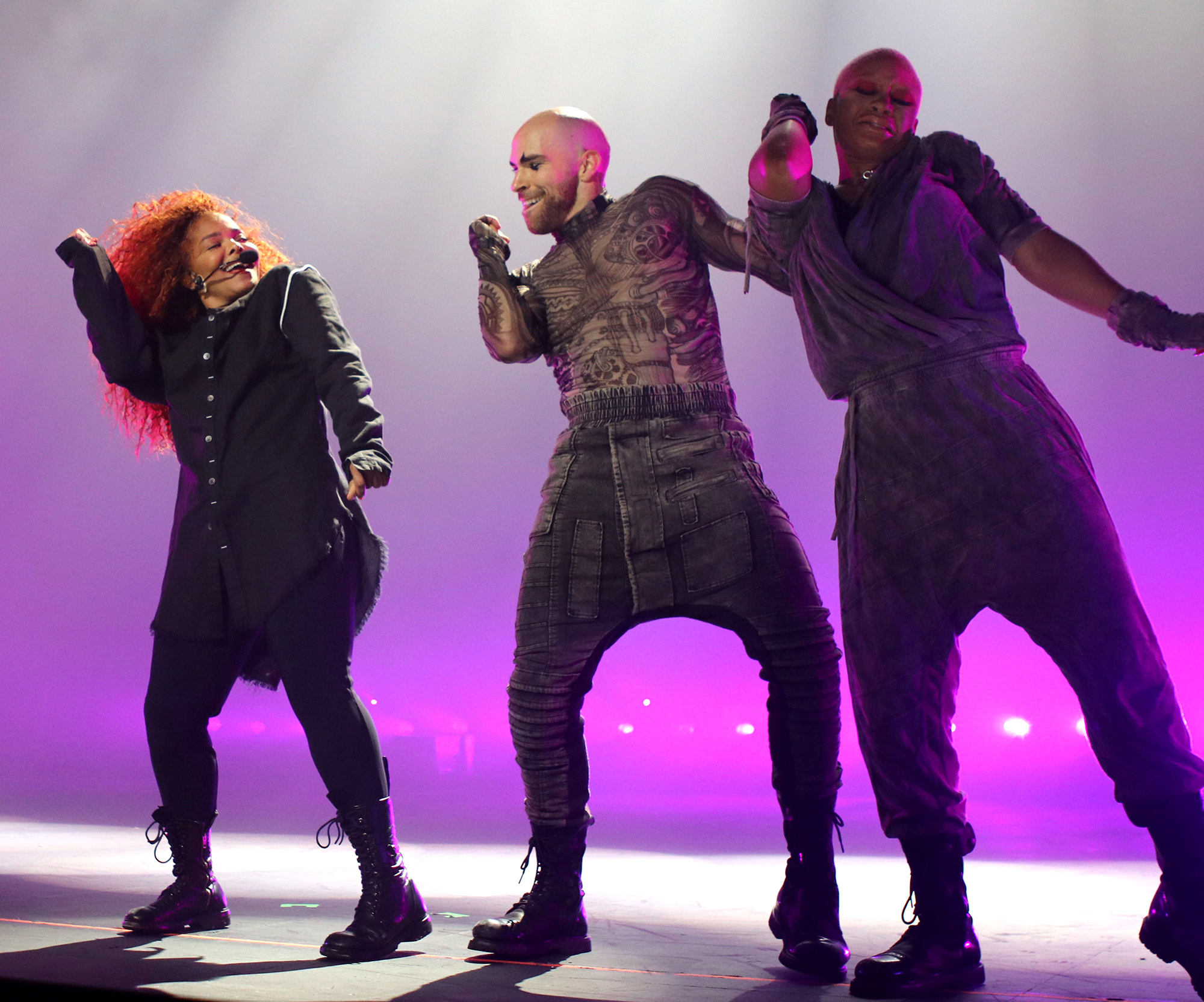 LAS VEGAS, NEVADA - MAY 17: Janet Jackson (L) performs onstage during the opening night of her Metamorphosis - The Las Vegas Residency at Park Theater at Park MGM on May 17, 2019 in Las Vegas, Nevada. (Photo by Farrenton Grigsby/Getty Images for JJ)