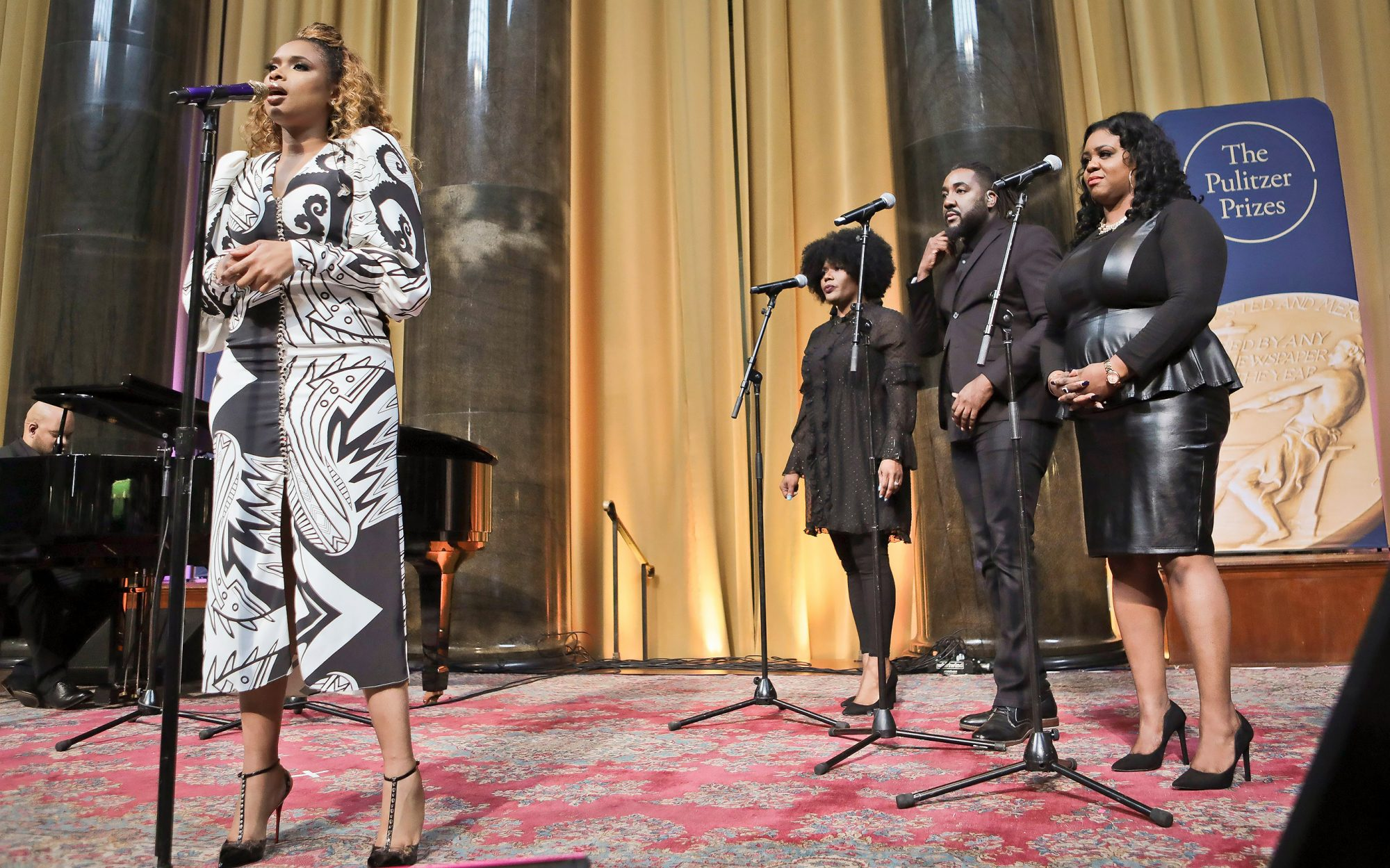 """Singer Jennifer Hudson sings """"Amazing Grace"""" in tribute to Aretha Franklin, who received a special music citation during the 2019 Pulitzer Prize winners awards luncheon at Columbia University, in New York"""