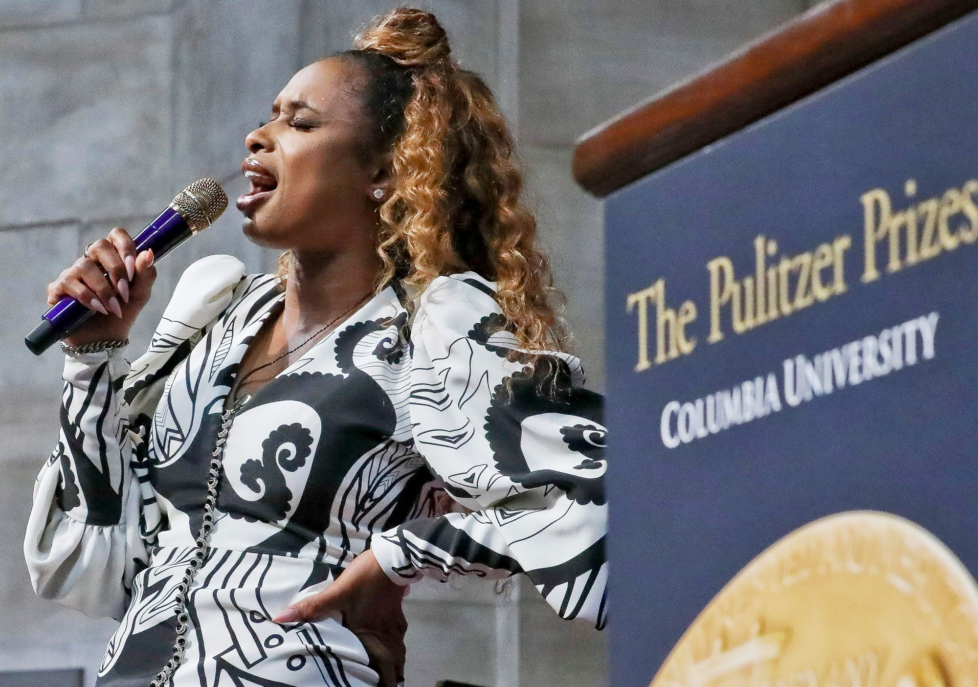 "Singer Jennifer Hudson sings ""Amazing Grace"" in tribute to Aretha Franklin, who received a special music citation during the 2019 Pulitzer Prize winners awards luncheon at Columbia University, in New York"
