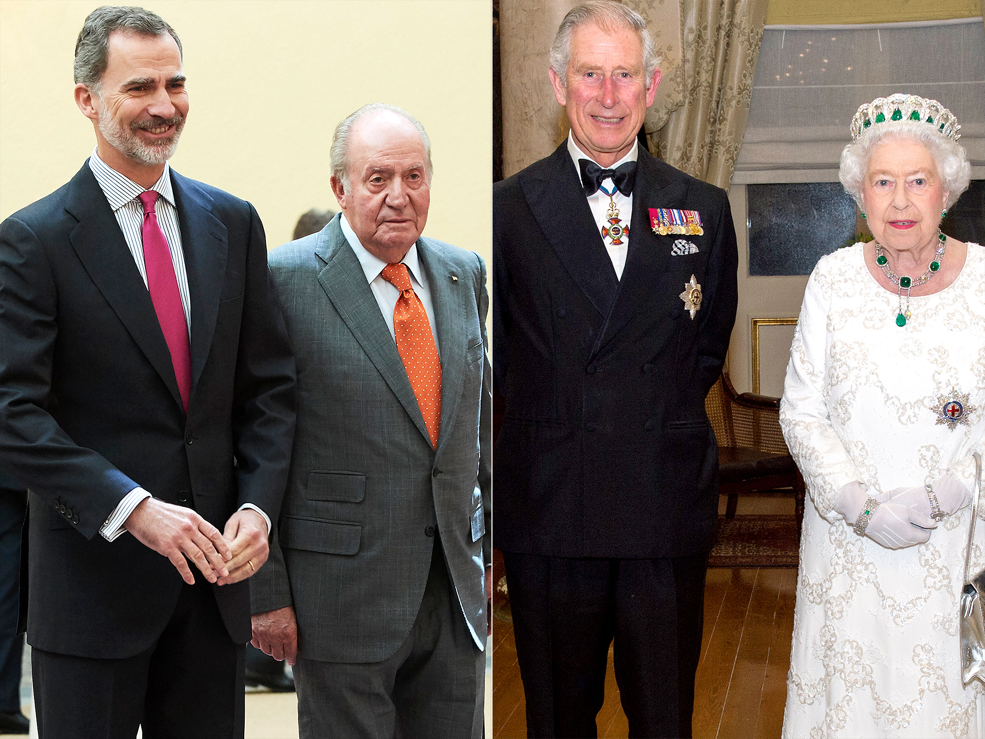 King Felipe VI of Spain and King Juan Carlos and Prince Charles, Prince of Wales, Queen Elizabeth II