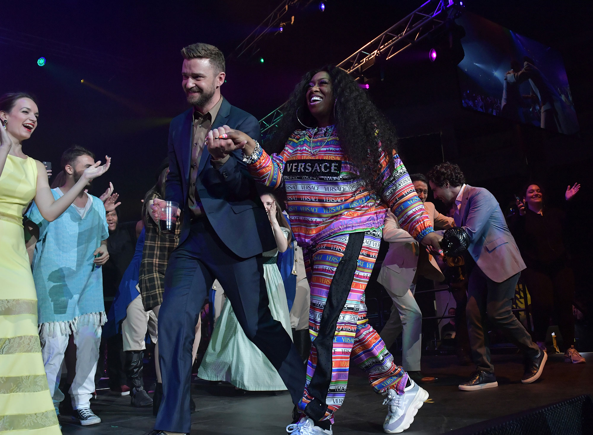 BOSTON, MA - MAY 10: Justin Timberlake, Missy Elliott and Alex Lacamoire onstage at the annual Berklee College of Music Commencement concert at Agganis Arena at Boston University on May 10, 2019 in Boston, Massachusetts. Missy Elliott, Alex Lacamoire, and Justin Timberlake will receive honorary doctorates at the Berklee commencement. (Photo by Paul Marotta/Getty Images for Berklee)