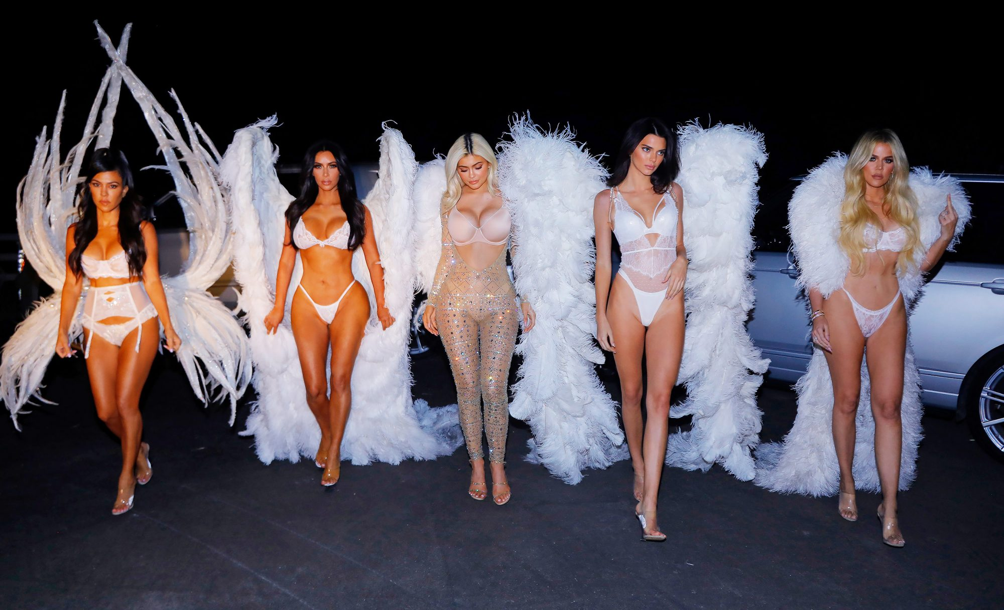 EXCLUSIVE: ***NO WEB UNTIL 11am PST THURSDAY NOV 1st***Premium Exclusive** The Kardashian Angels! All of the Kardashian - Jenner sisters dress up as Victoria Secret Angels for Kim's Halloween party in Los Angeles.