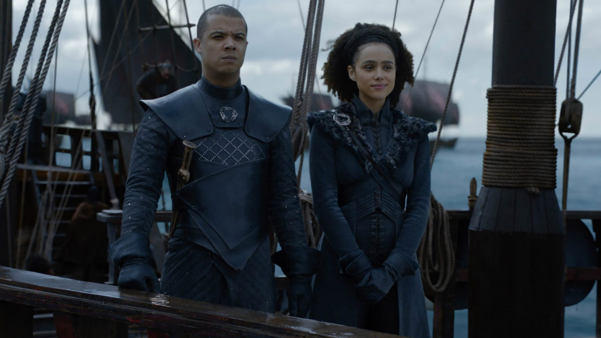 Game of Thrones Season 8, Episode 4 (L to R) Jacob Anderson as Grey Worm and Nathalie Emmanuel as Missandei - Photo: Courtesy of HBO