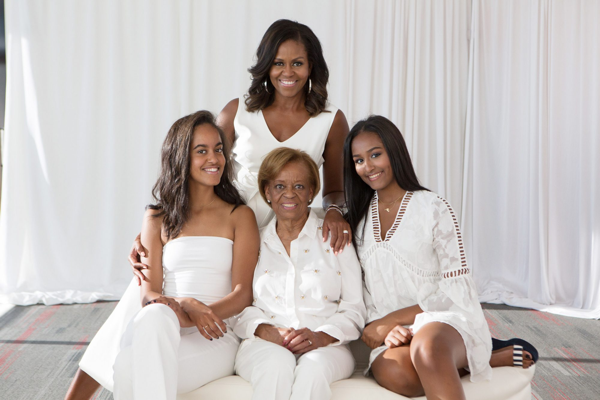 Former First Lady Michelle Obama and family members surprise Mrs. Marian Robinson with 80th Surprise Birthday party in Chicago Saturday, July 29, 2017.